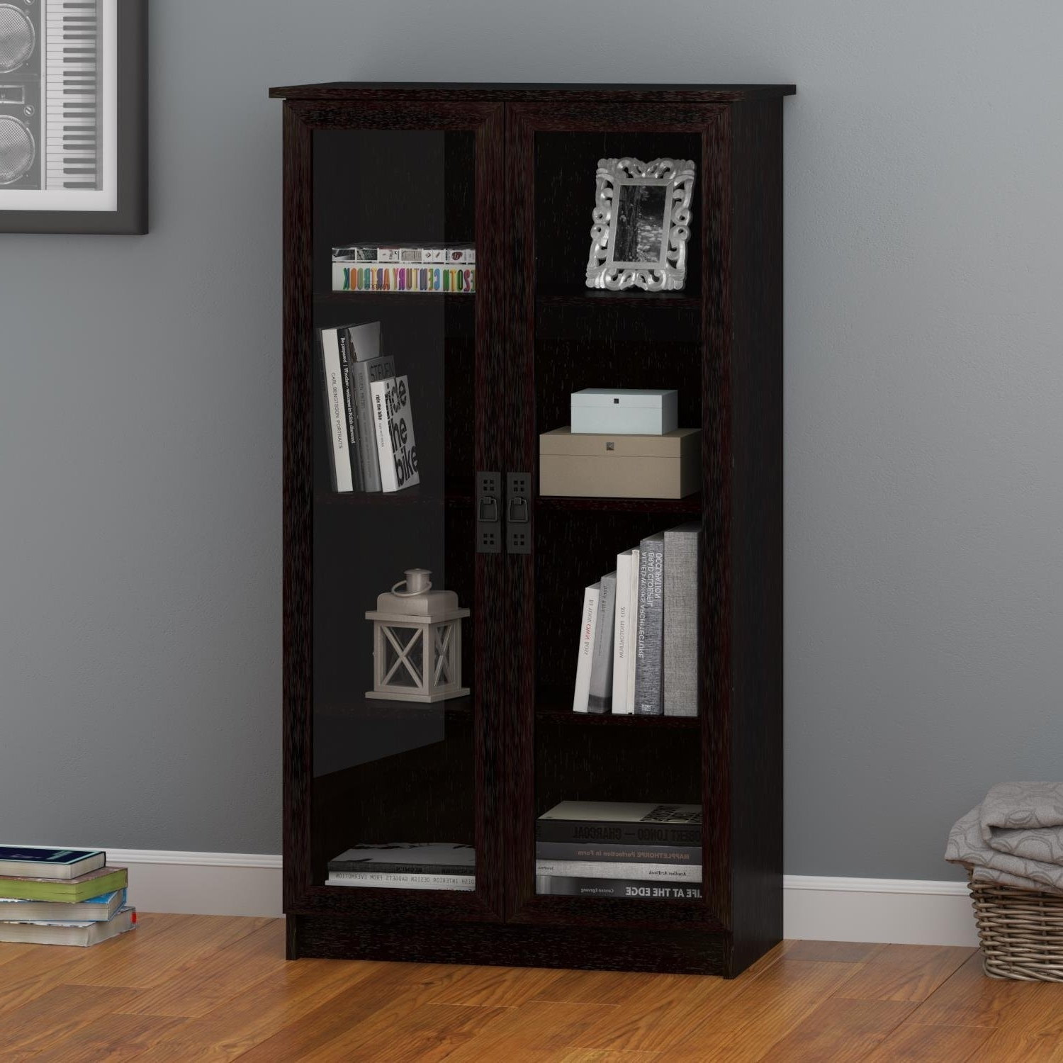 Most Recently Released Amazon: Ameriwood Home Quinton Point Glass Door Bookcase With Regard To Black Bookcases With Glass Doors (View 9 of 15)