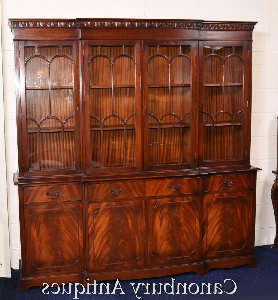 Most Recently Released Breakfront Bookcases Regarding Gothic Breakfront Bookcase Flame Mahogany Bookcases Cabinet (View 9 of 15)