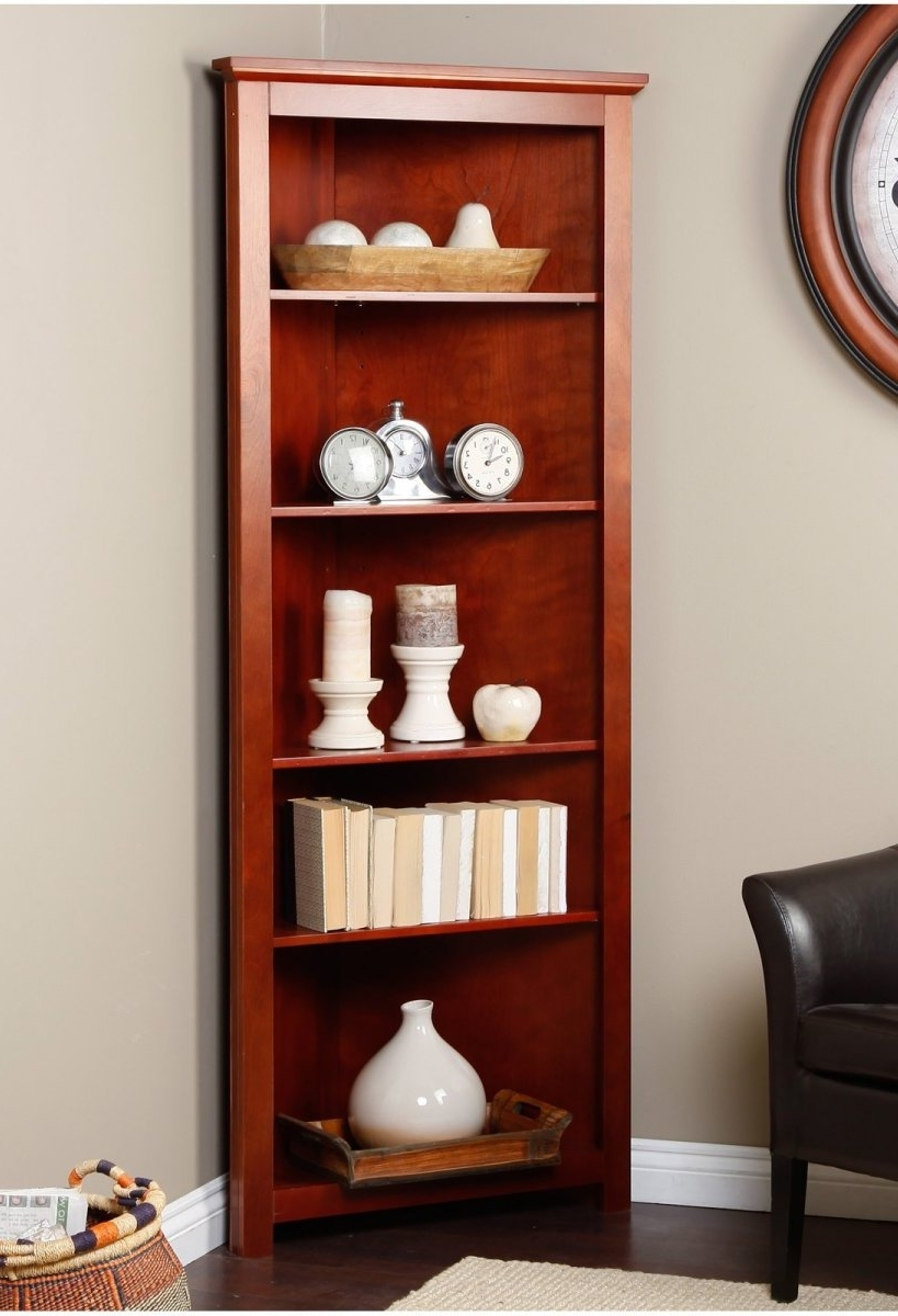 Most Recently Released Cherry Bookcases Regarding Corner Book Shelves (View 11 of 15)