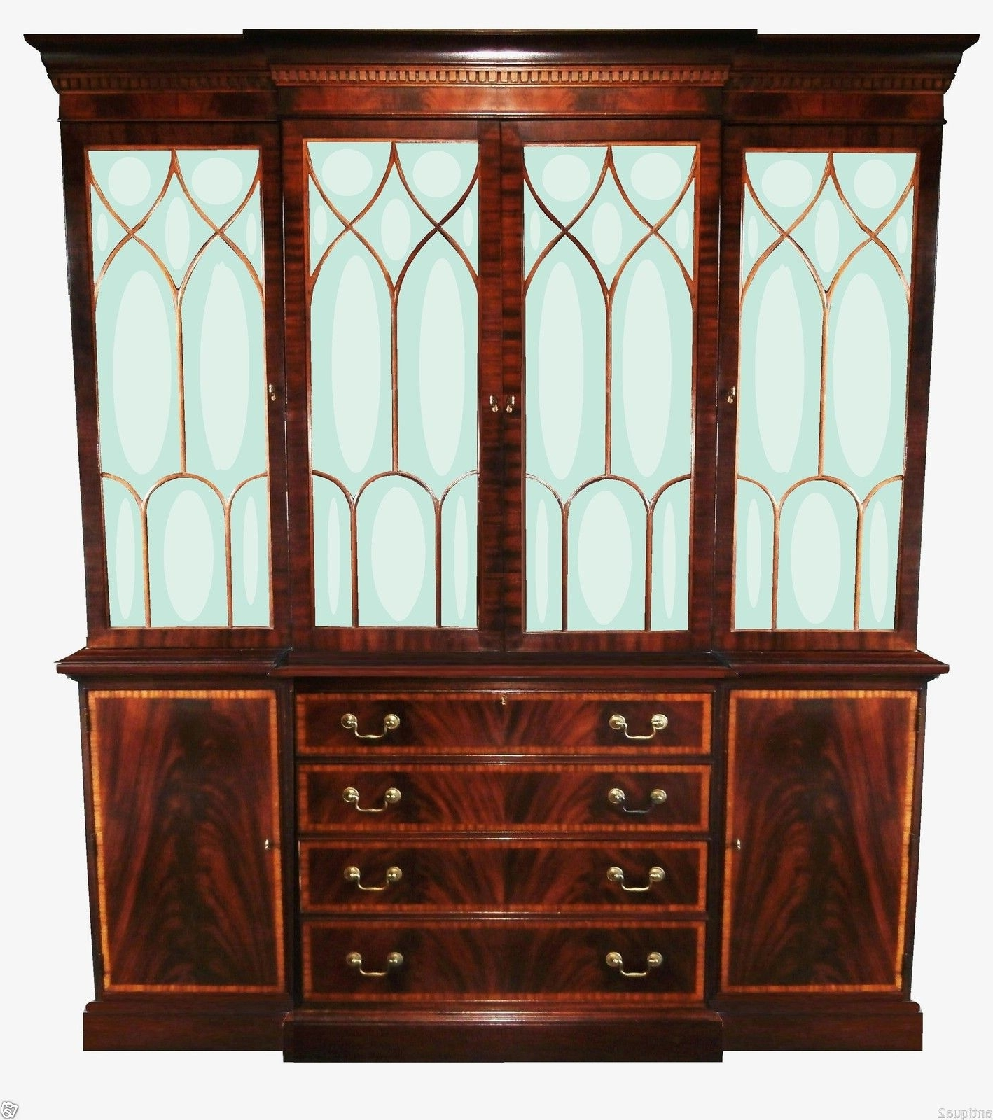Most Recently Released Ethan Allen English Georgian Regency Breakfront Bookcase Display Regarding Georgian Breakfront Wardrobes (View 11 of 15)