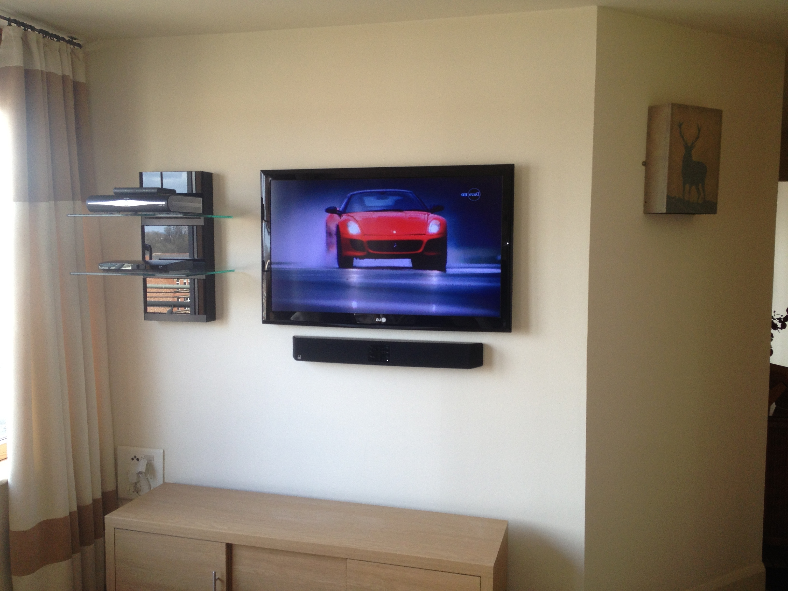 Most Recently Released Flat Screen Shelving Throughout Flat Screen Tv Installation With Soundbar And Floating Av Shelves (View 8 of 15)