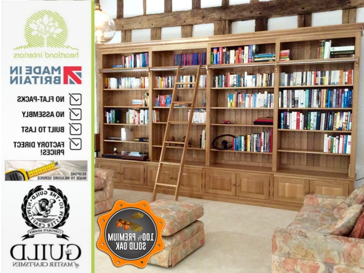 Most Recently Released Oak Library Bookcases Intended For Library Bookcases With Ladders, Made To Measure Library Shelving (View 10 of 15)