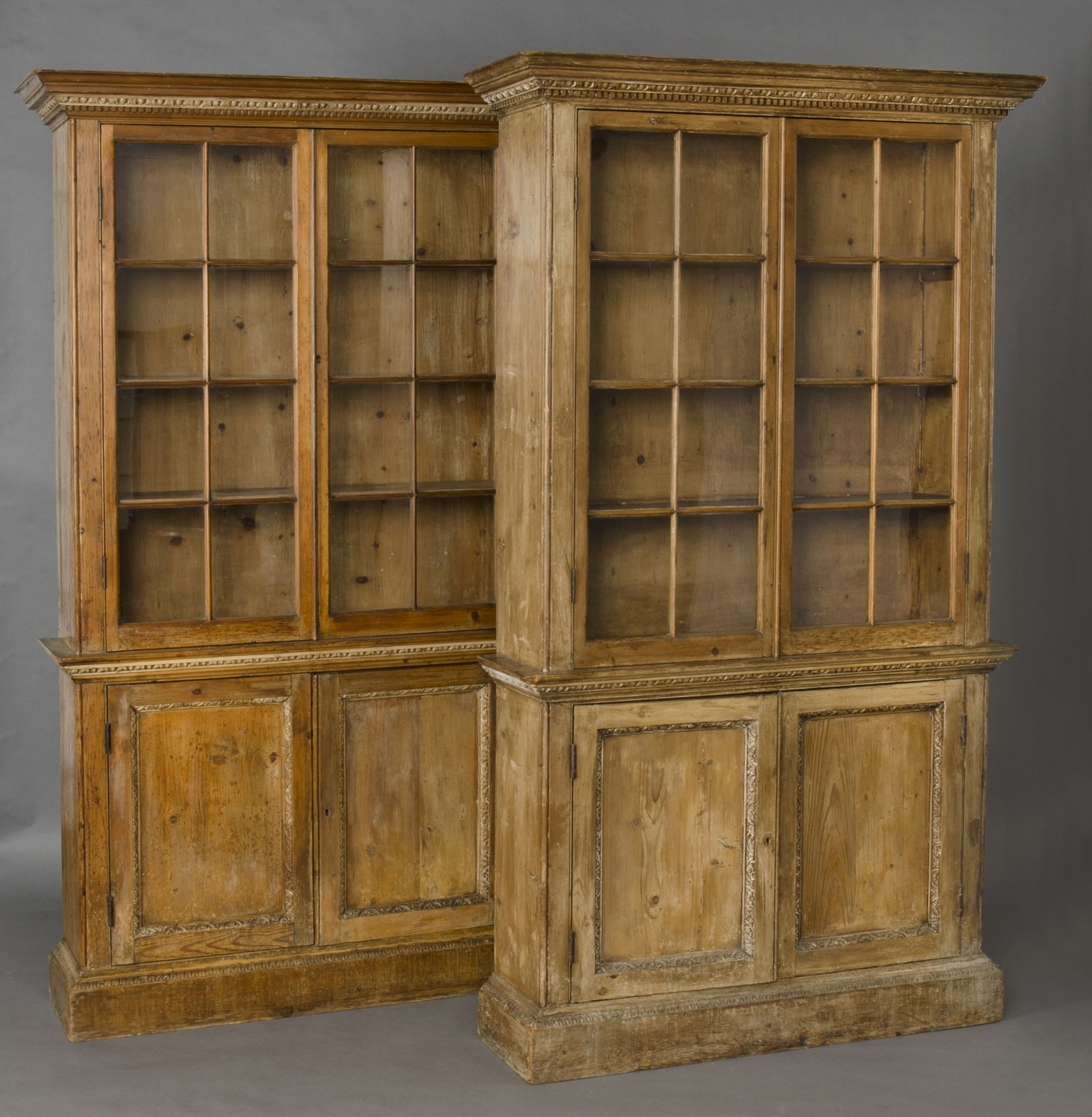 Most Recently Released Product » Pair Pine Glazed Bookcases Regarding Antique Bookcases (View 9 of 15)