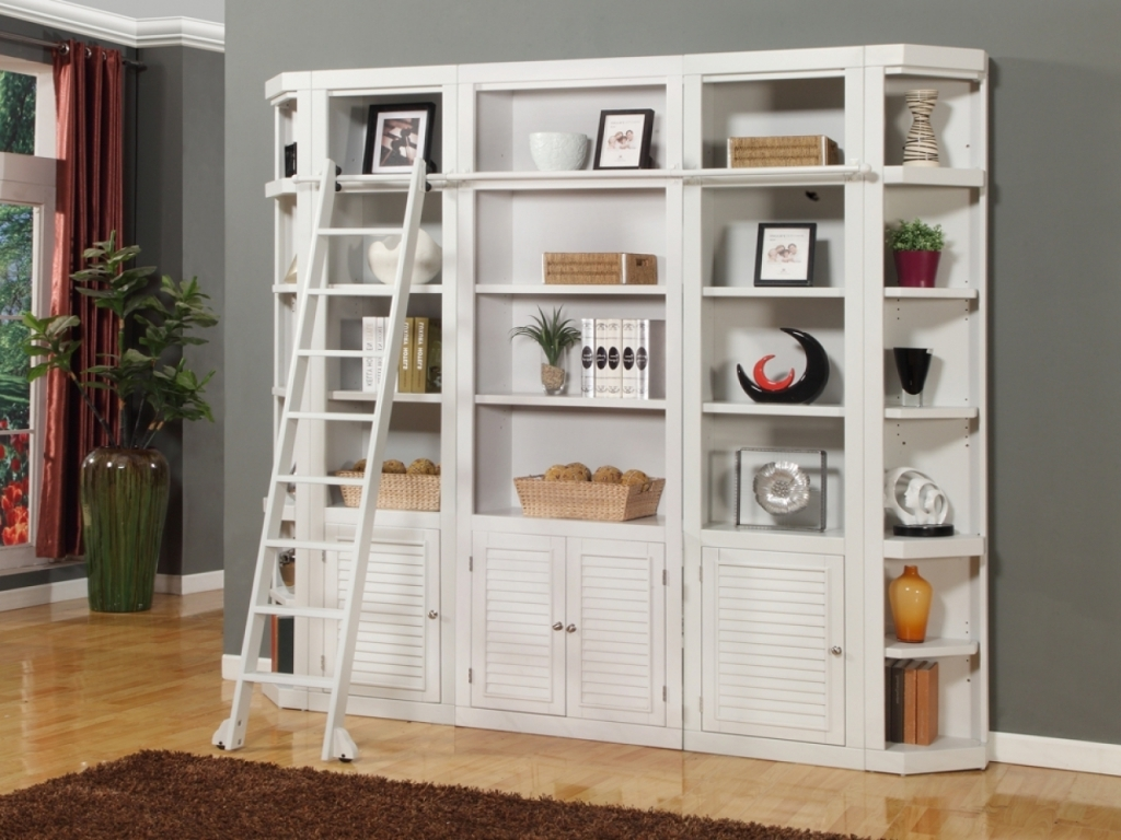 Most Recently Released Smart Bedroom Storage Wall Desk With Bookcase White Library Within Pertaining To White Library Bookcases (View 8 of 15)