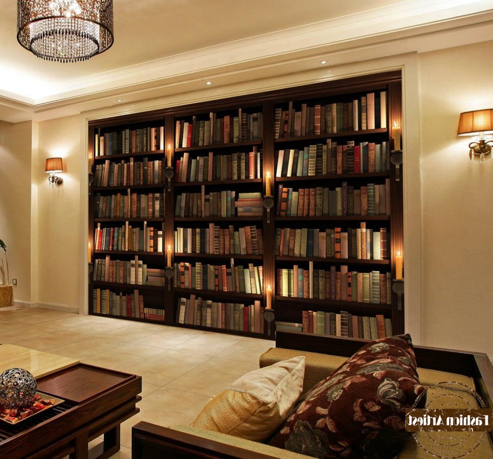 Most Recently Released Study Bookcases In Custom Modern 3D Wallpaper Mural Bookshelf Bookcase Candle Tv Sofa (View 7 of 15)