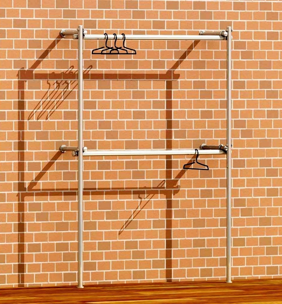 Most Recently Released Tube & Clamp Walk In Double Wardrobe Wall Clothes Rack Fashion In Double Hanging Rail For Wardrobes (View 10 of 15)
