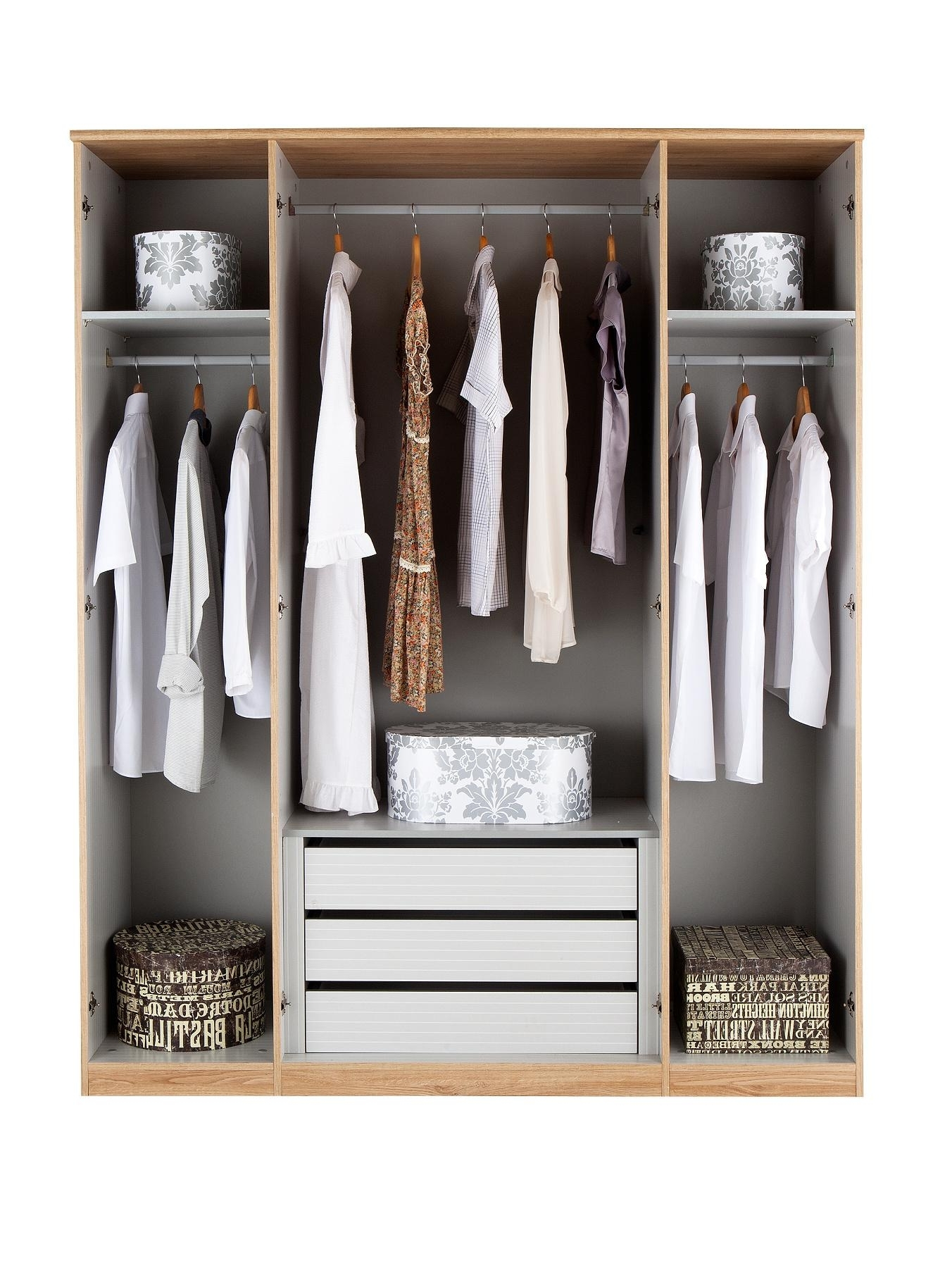 Most Recently Released Wardrobe With Shelves And Drawers With Prague 4 Door Mirrored Wardrobe (View 9 of 15)