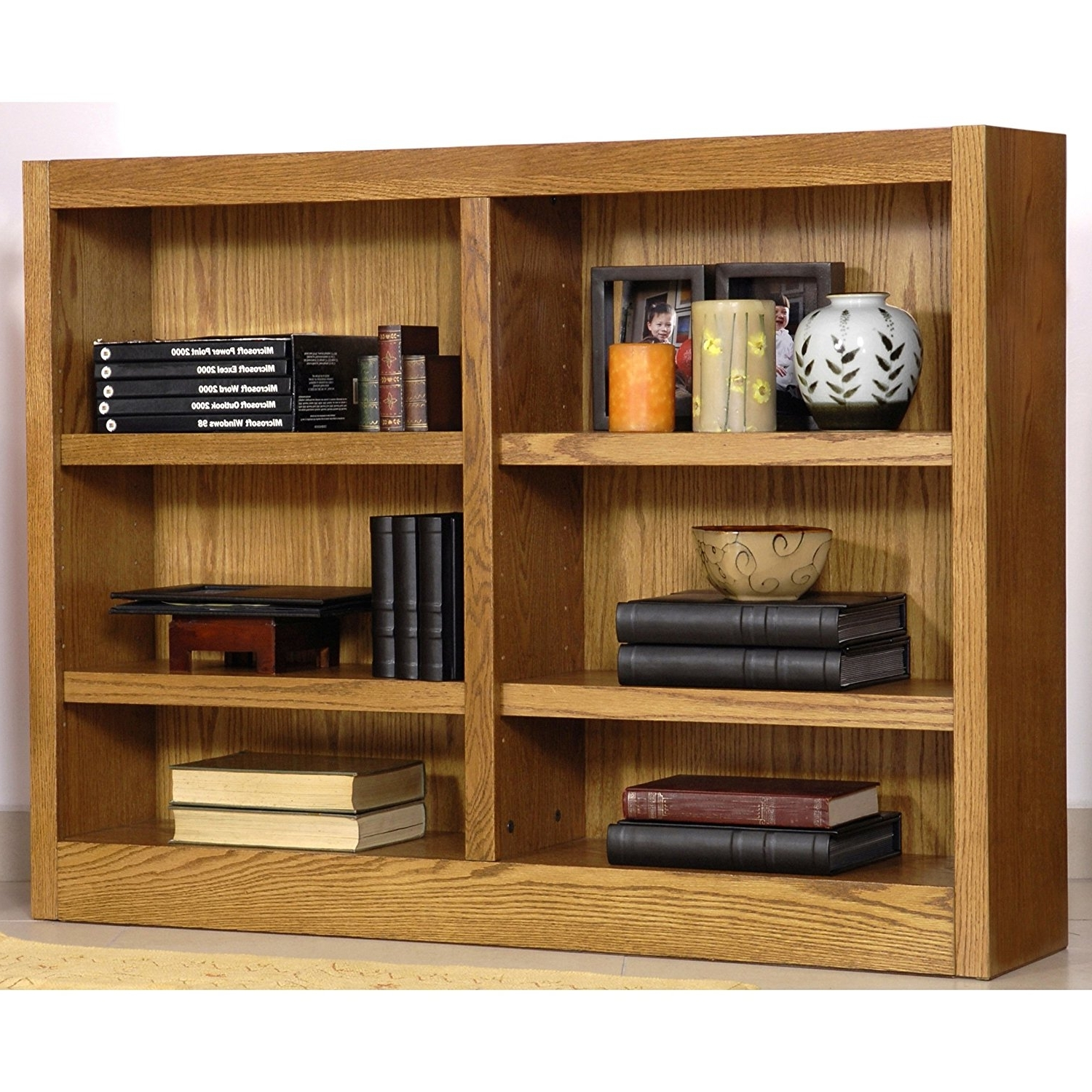 "Most Recently Released Wide Bookcases With Regard To Amazon: Midas Six Shelf Double Bookcase 36""h Dry Oak Finish (View 8 of 15)"