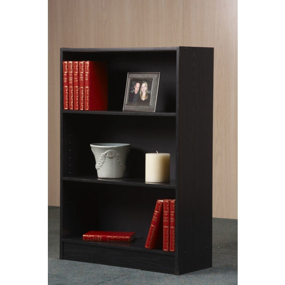Most Up To Date Amazon: Mainstays Wide 3 Shelf Bookcase (Black): Kitchen & Dining Regarding Mainstays 3 Shelf Bookcases (View 8 of 15)