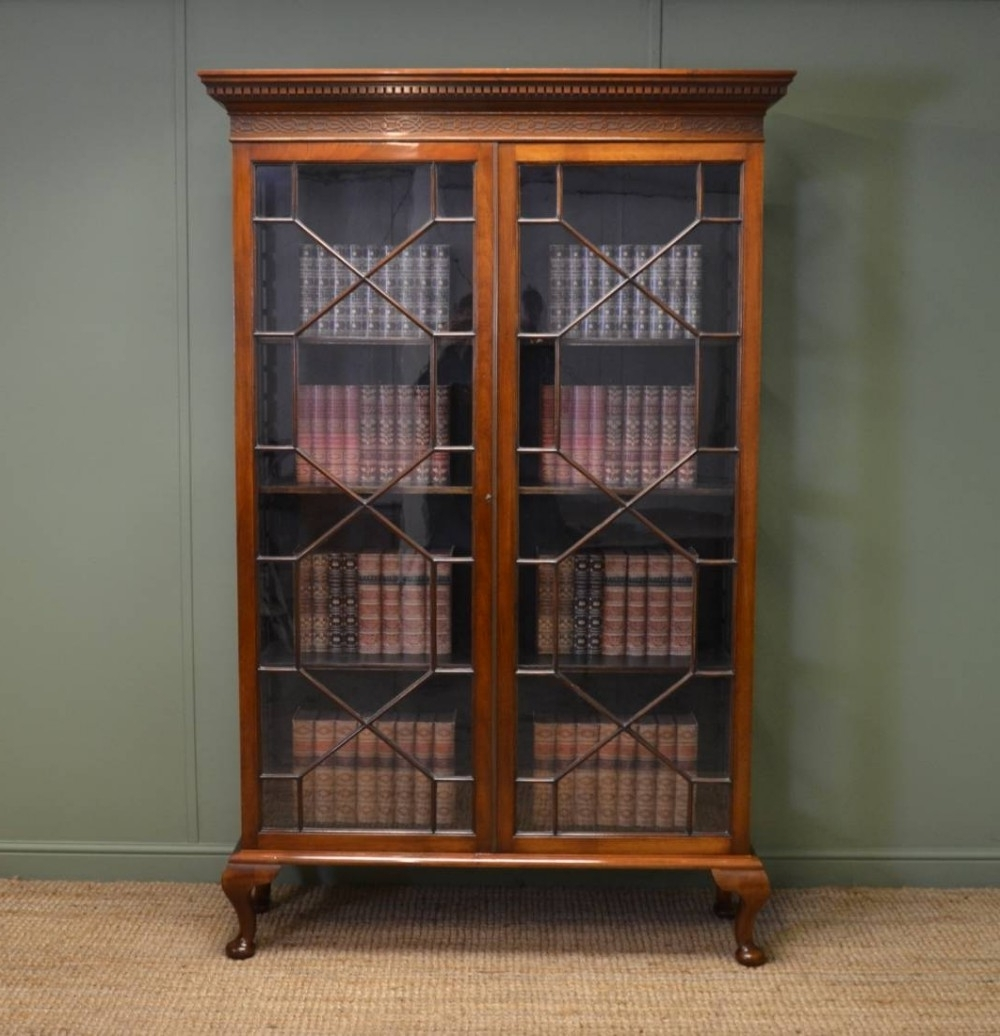 Most Up To Date Antique Bookcases Throughout Tall Victorian Walnut Antique Glazed Bookcase (View 6 of 15)