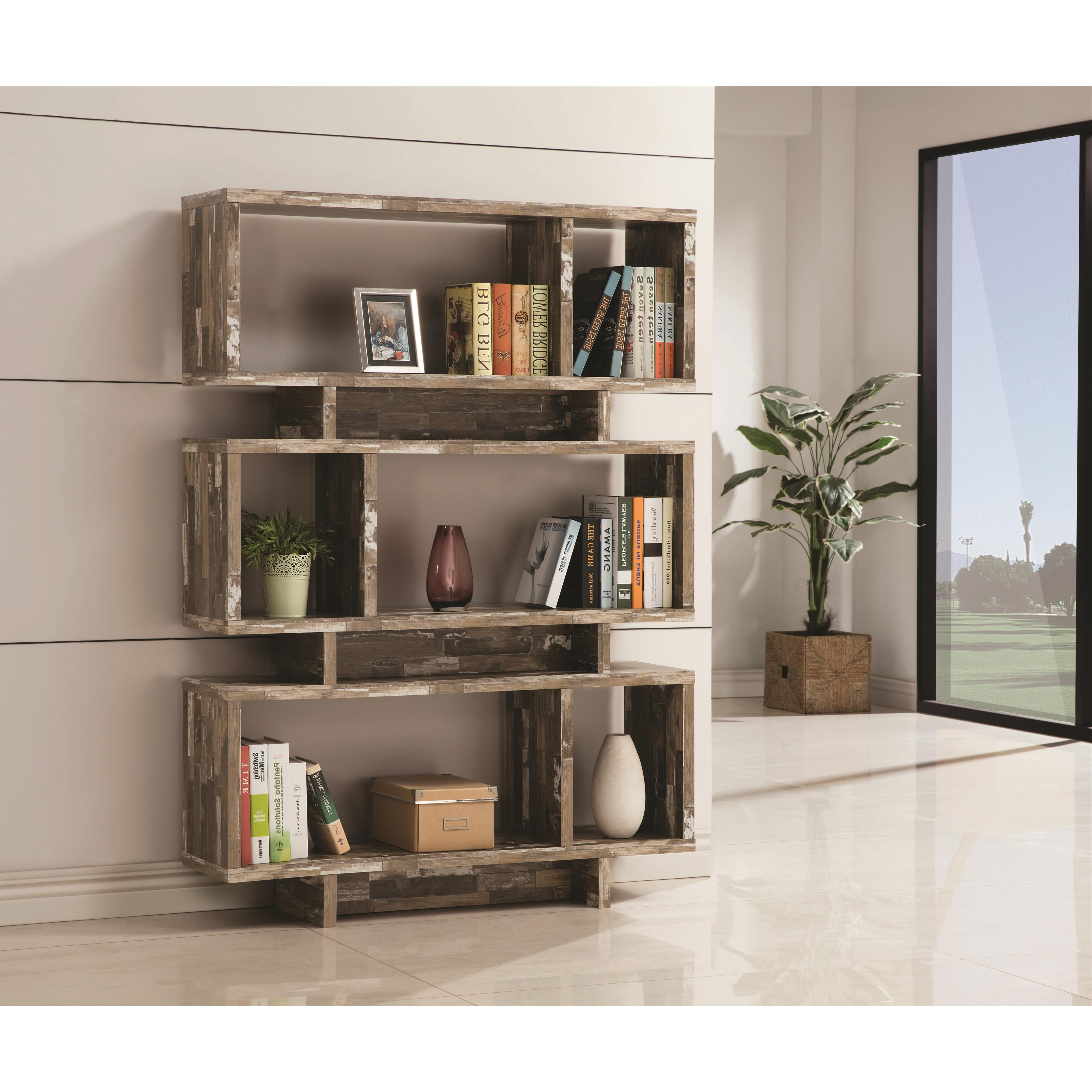 Most Up To Date Coaster Bookcases Open Bookcase With Distressed Wood Finish Throughout Bookcases (View 11 of 15)