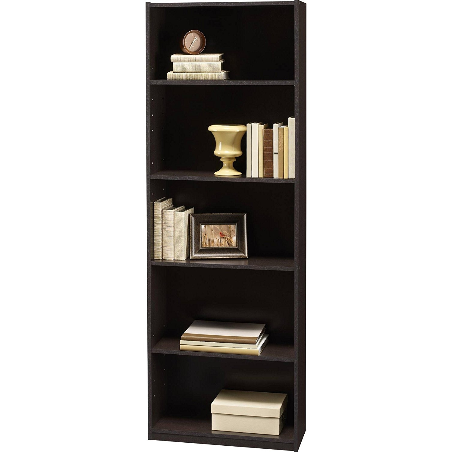 Most Up To Date Colored Bookcases Pertaining To Amazon: Ameriwood 5 Shelf Bookcases, Set Of 2, Espresso (View 9 of 15)