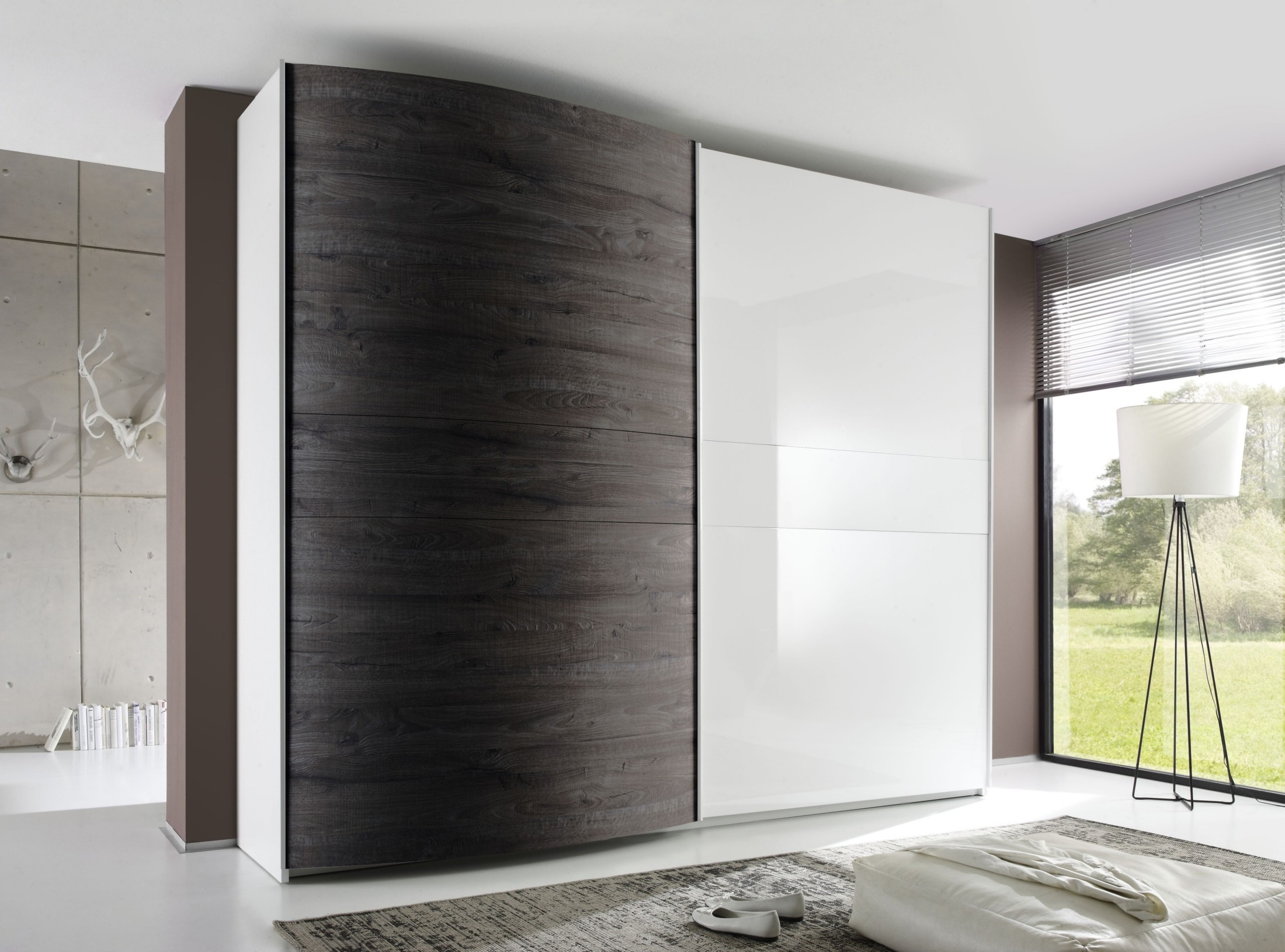 Most Up To Date Curved Wardrobe Doors With Regard To Tambura Curved Sliding Doors Wardrobe, White + Wenge Buy Online At (View 13 of 15)