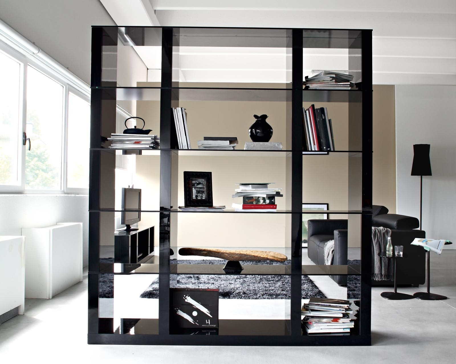Most Up To Date Double Sided Bookcases Intended For Storage: Cool Diy Black Painted Wood Modular Shelving Bookcase As (View 14 of 15)