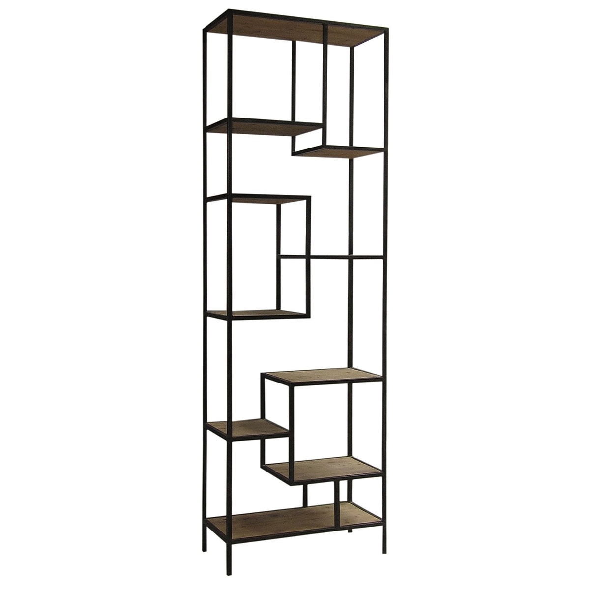 Most Up To Date Iron And Wood Bookcases Throughout Furniture: Comely Image Of Large Wheel Metal And Wood Bookcase As (View 14 of 15)