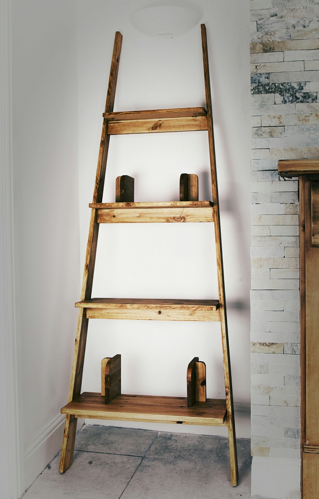 Most Up To Date Ladder Shelves Regarding Wooden Ladder Shelves – Madenook (View 7 of 15)