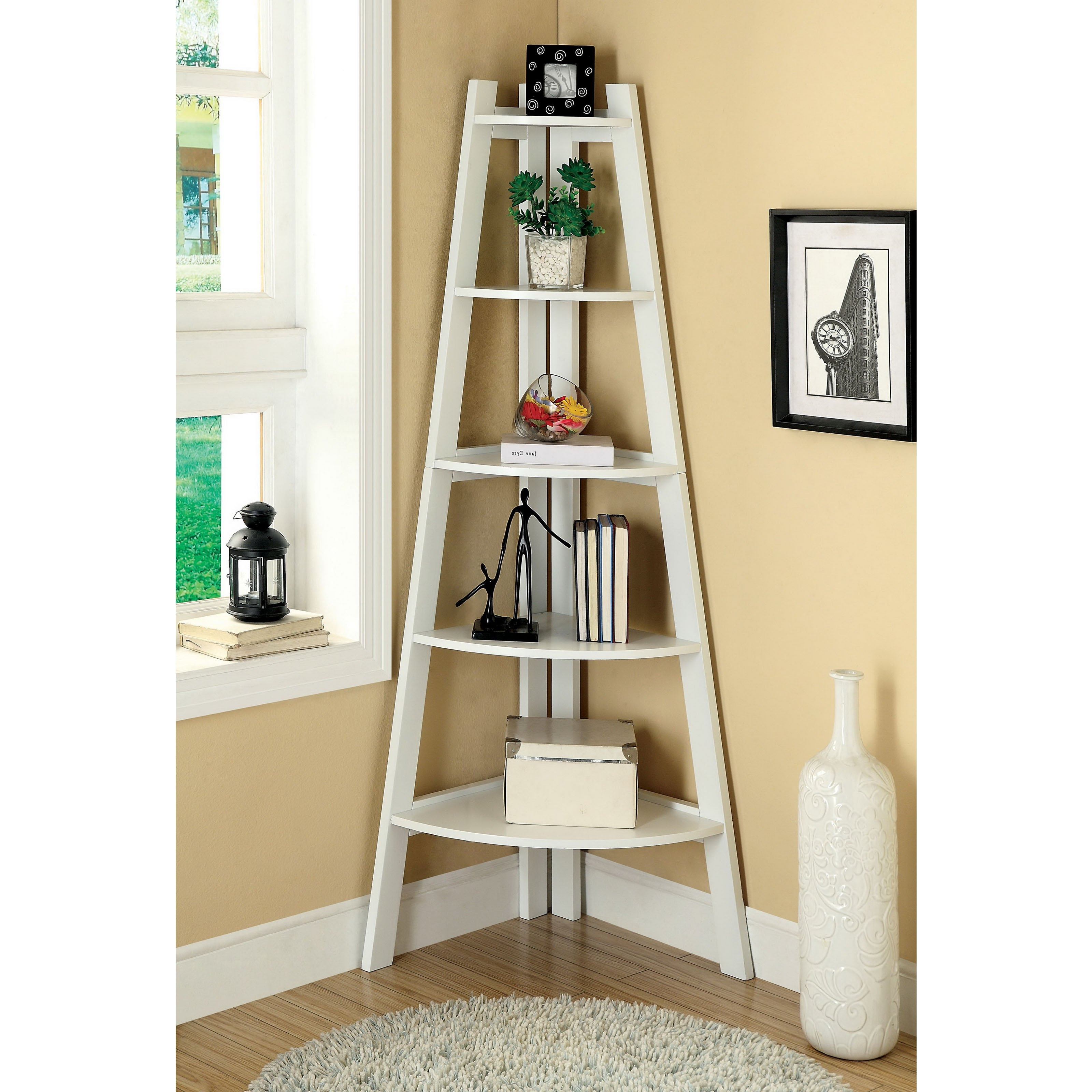 Most Up To Date Leaning Bookcases Regarding Decorating: Leaning Ladder Shelf With Leaning Ladder Bookcases And (View 13 of 15)