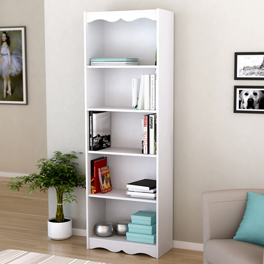 Most Up To Date Lowes Bookcases Throughout Shop Corliving Hawthorn Frost White 5 Shelf Bookcase At Lowes (View 13 of 15)