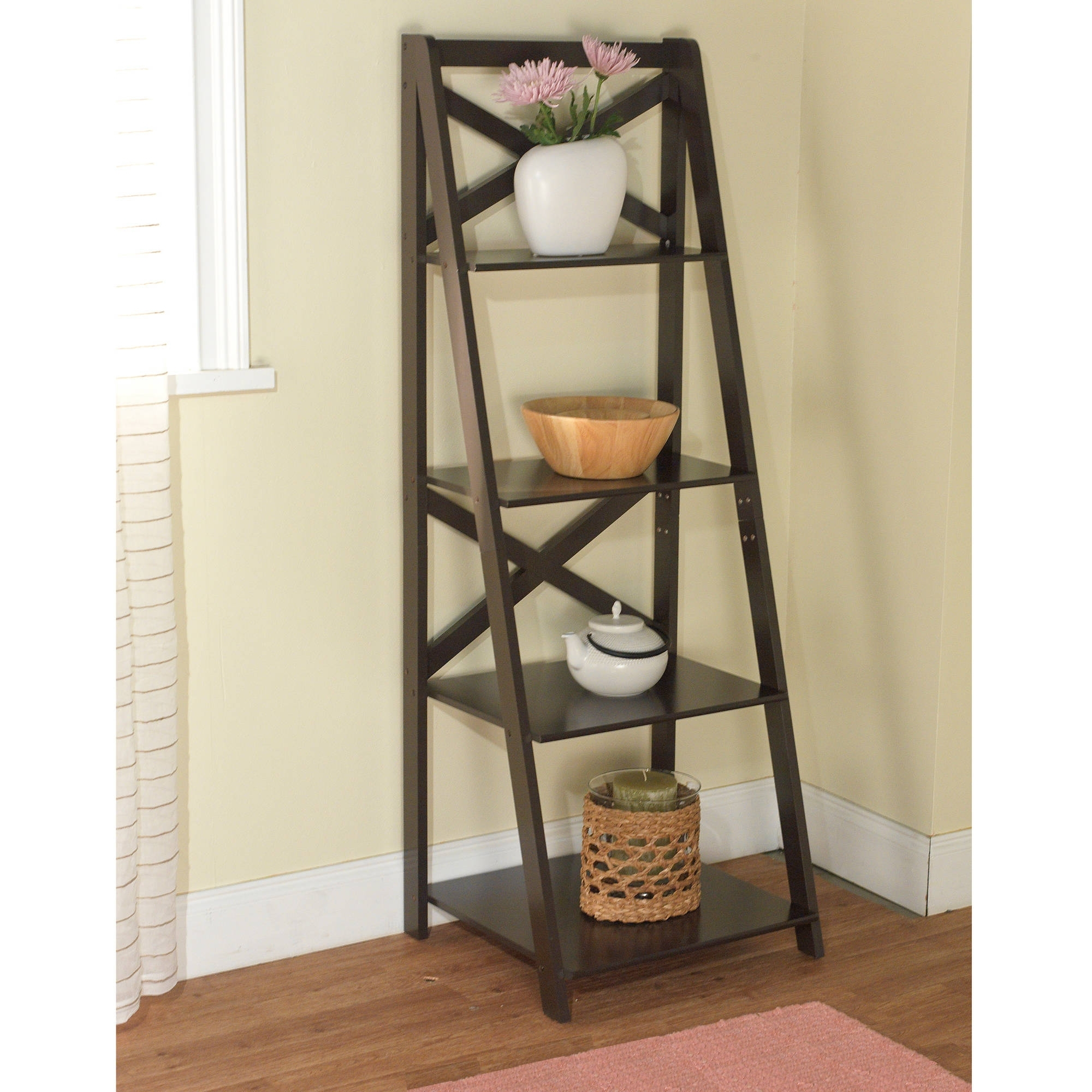 Most Up To Date Mainstays 5 Shelf Leaning Ladder Bookcase, Espresso (View 12 of 15)
