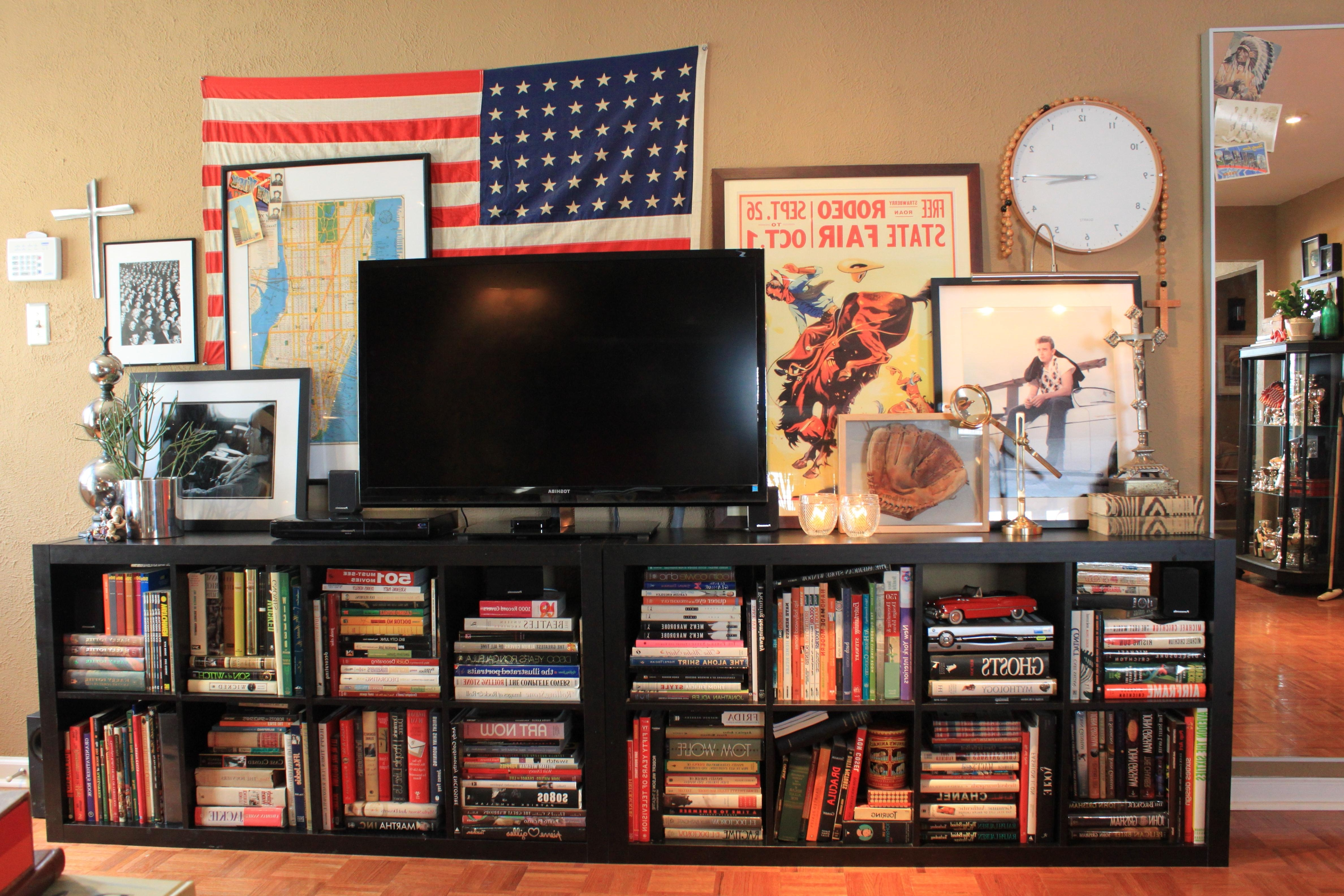 Most Up To Date Marvelous Ikea Low Bookcase Design For Tv Stand Using Black Regarding Tv Unit With Bookcases (View 11 of 15)