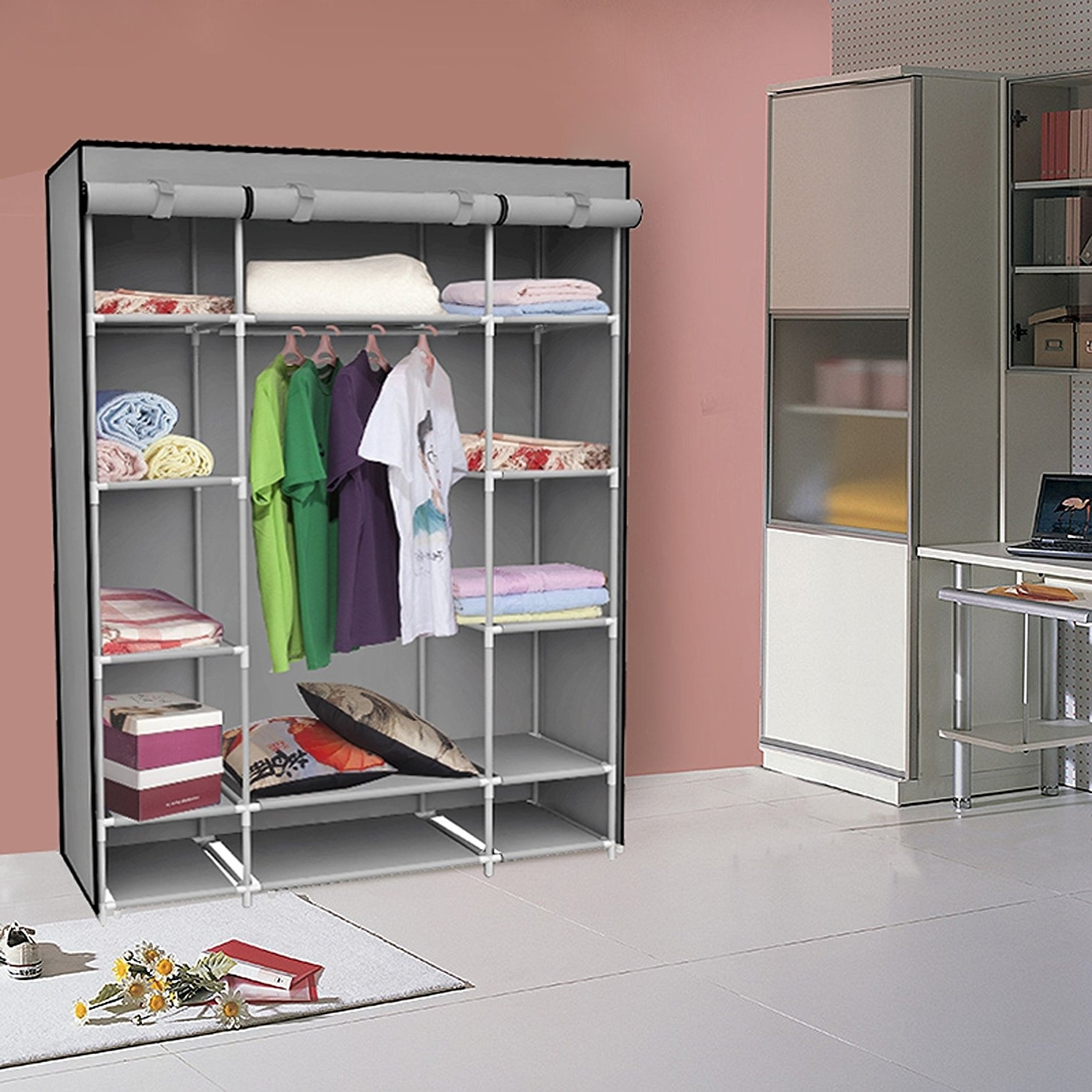Most Up To Date Mobile Wardrobes Cabinets Regarding Closet Storage : Lowes Garment Rack Closet Organizer Systems Wood (View 11 of 15)