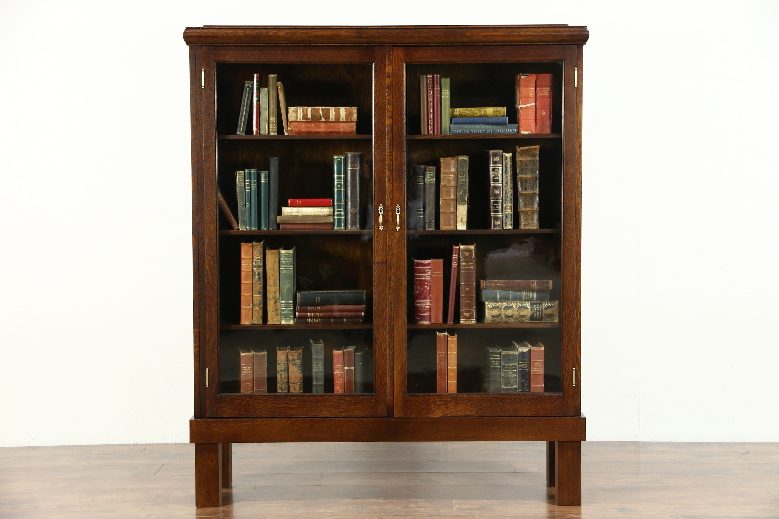 Most Up To Date Oak Library Bookcases Inside Sold – Oak Quarter Sawn 1900 Antique Library Bookcase, Wavy Glass (View 8 of 15)