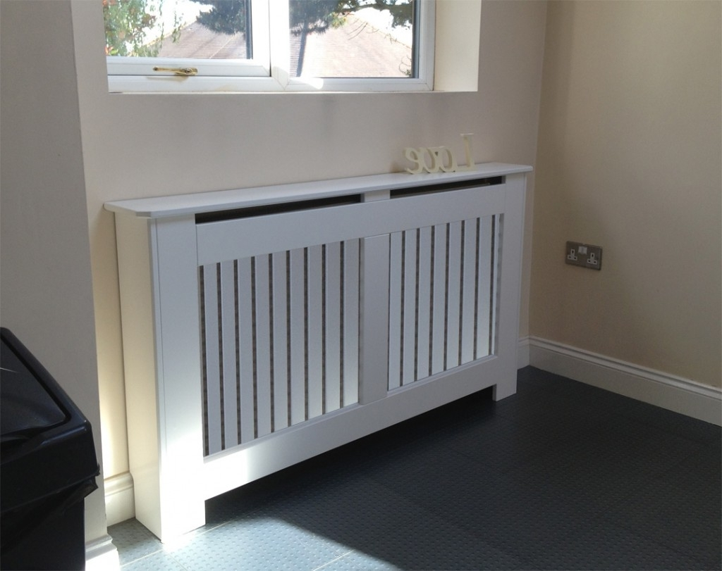 Most Up To Date Radiator Cupboards Regarding Radiator Covers White With A Vertical Grille (View 8 of 15)