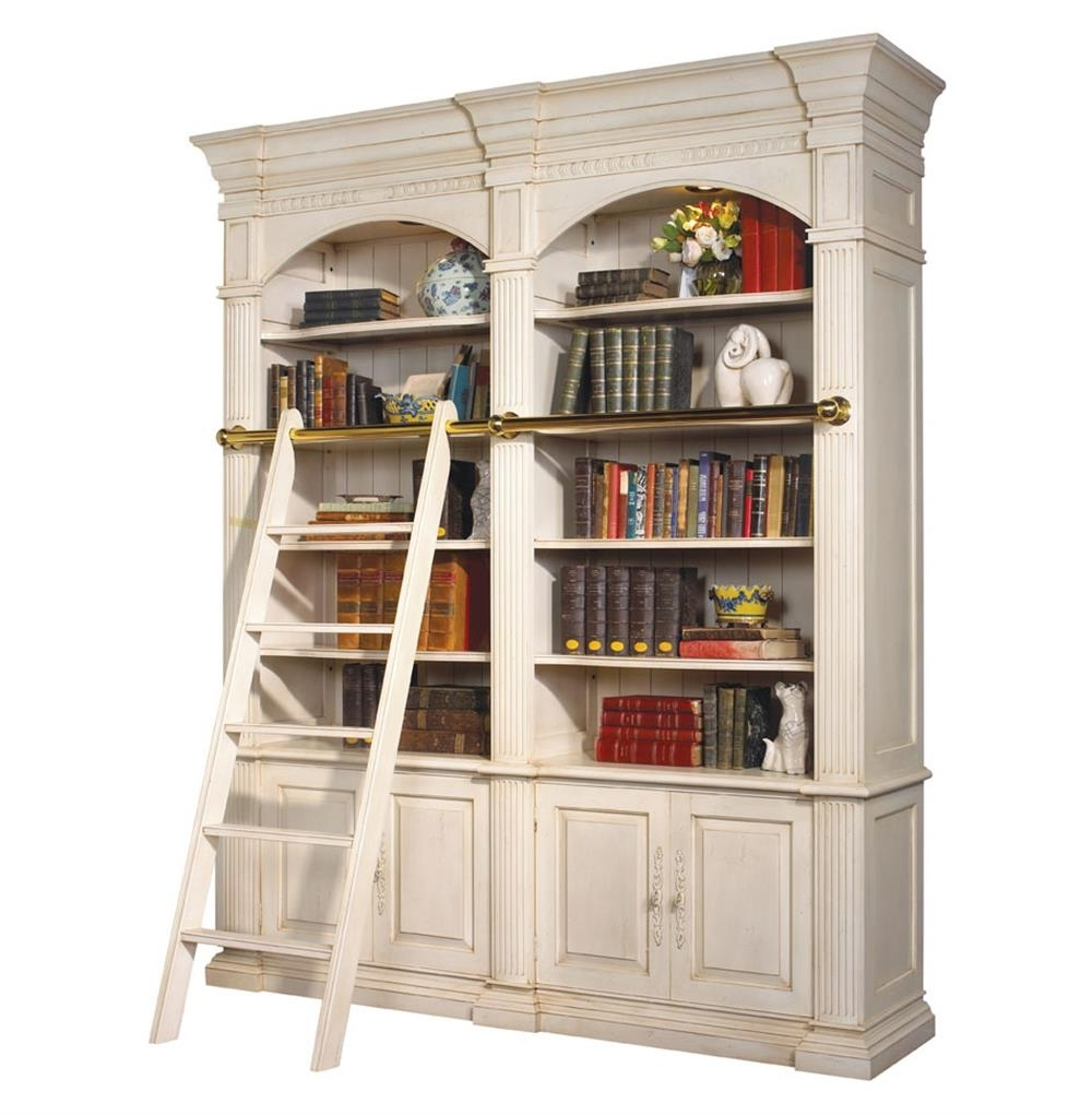 Most Up To Date Traditional Bookcases Intended For Percier French Country White Double Library Bookcase With Ladder (View 11 of 15)