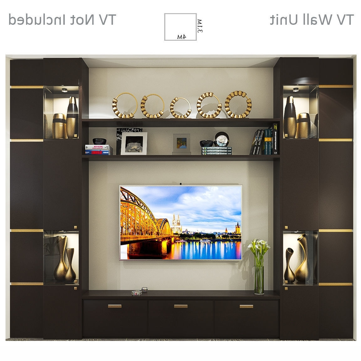 Most Up To Date Tv Wall Unit Intended For Tv Wall Unit 1 3d Model (View 12 of 15)