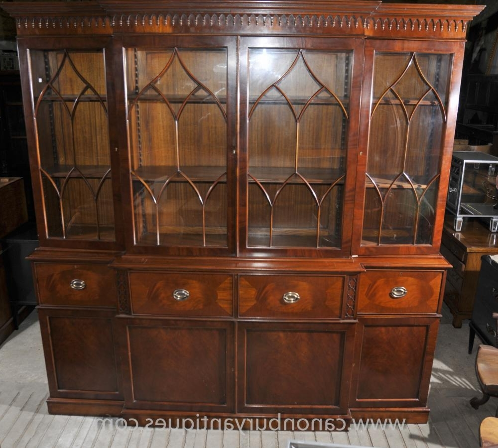 Most Up To Date Victorian Breakfront Bookcase With Secretaire Desk Mahogany Pertaining To Break Front Bookcases (View 12 of 15)