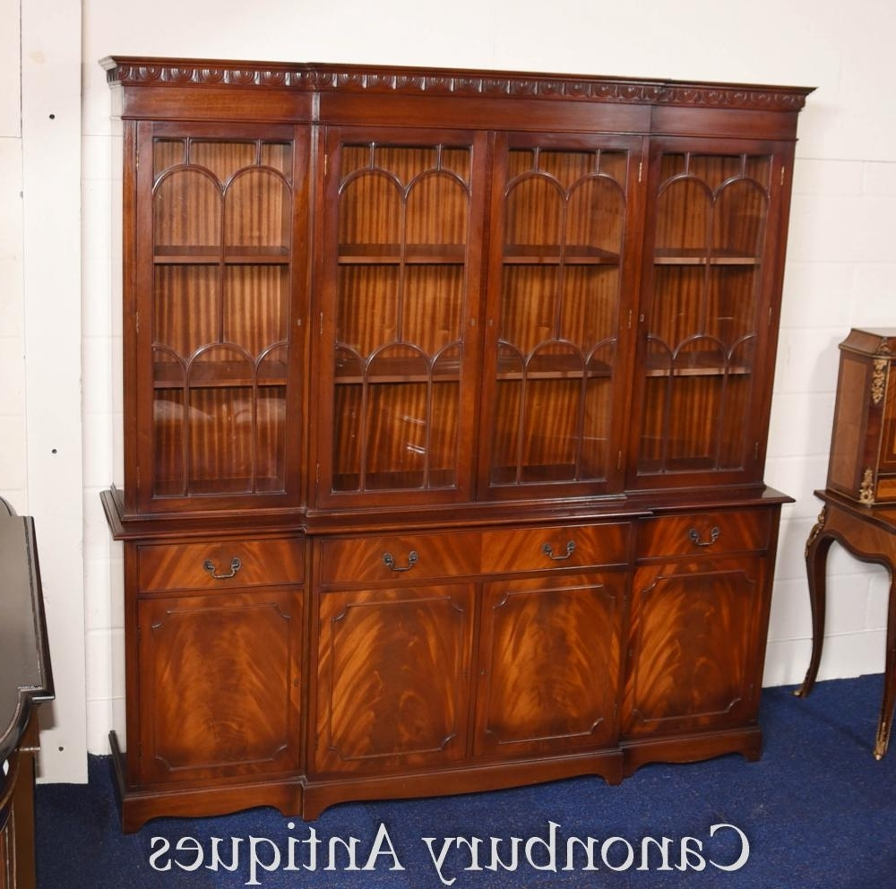 Most Up To Date Victorian Gothic Breakfront Bookcase Flame Mahogany Bookcases Cabinet In Break Front Bookcases (View 11 of 15)