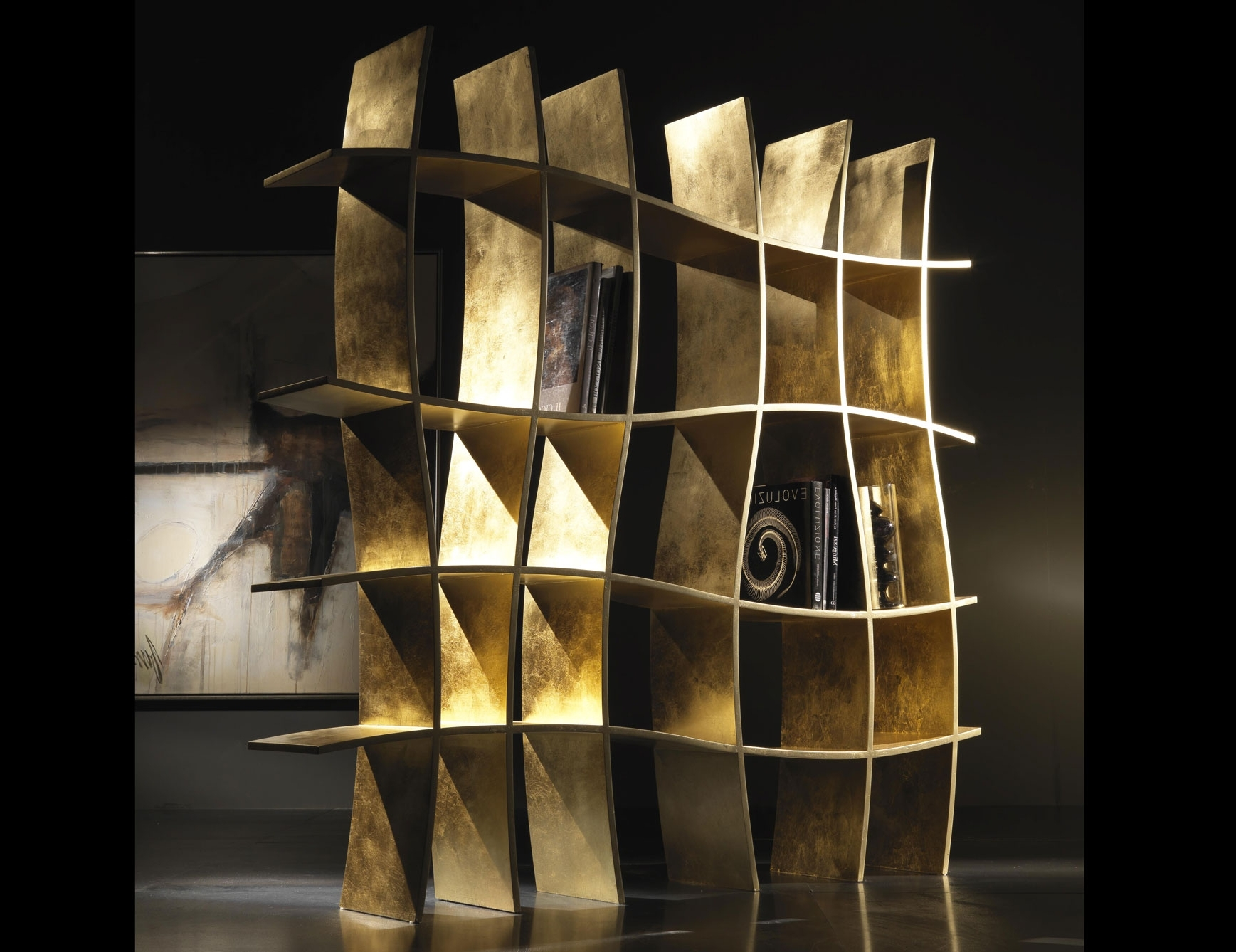 Nella Vetrina Sherwood She01 Modern Italian Gold Leaf Bookcase In Fashionable Gold Bookcases (View 10 of 15)