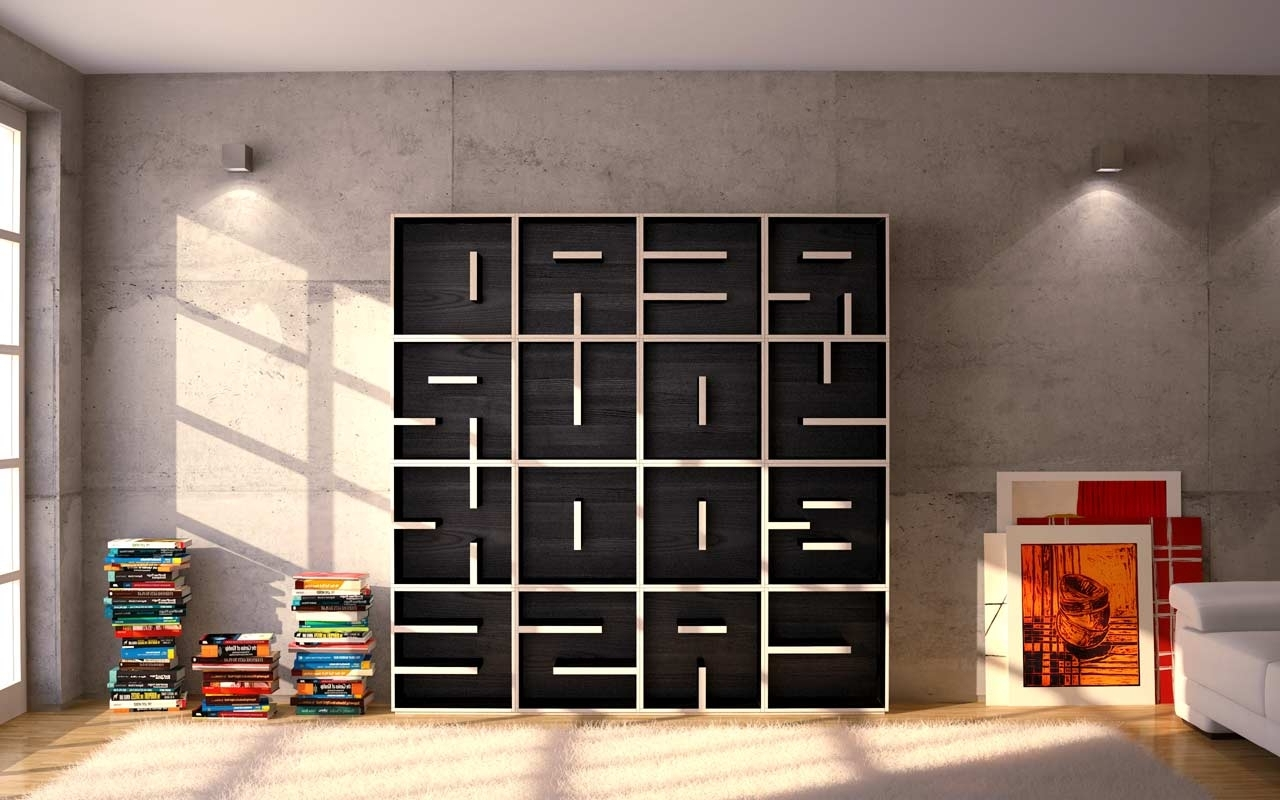 Newest A Modular Typographical Bookcasesaporiti (View 5 of 15)