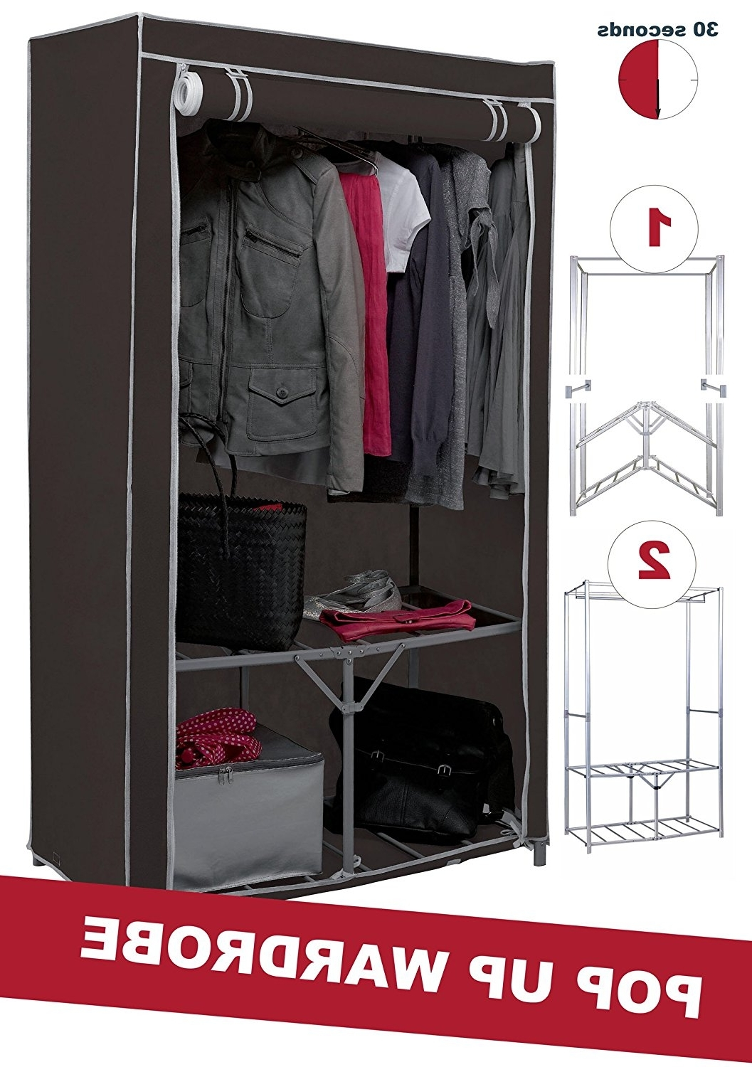 Newest Double Canvas Wardrobes Rail Clothes Storage Cupboard With Extra Strong Metal Frame Canvas Wardrobe With Shelf And Shoe (View 10 of 15)