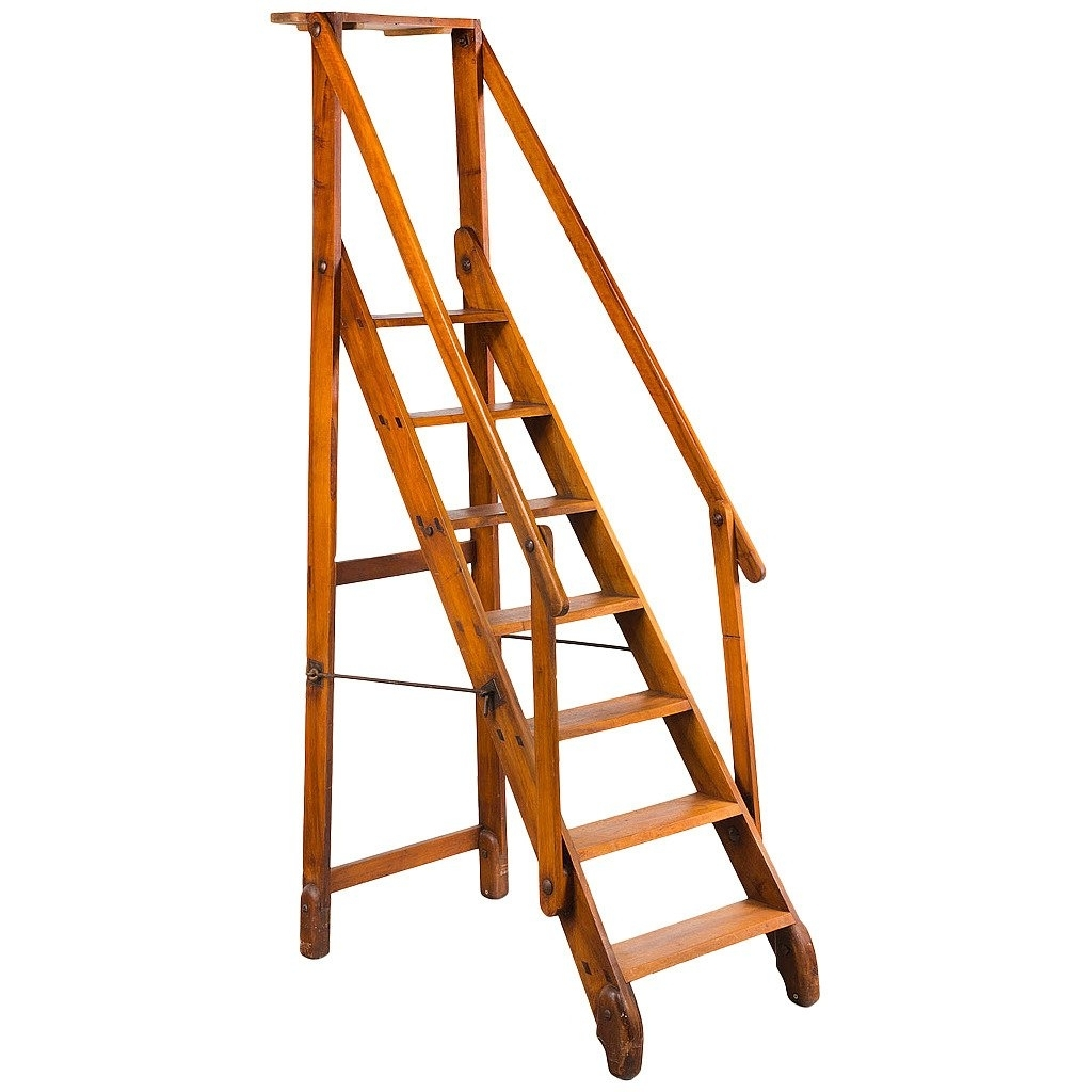 Newest Early 20Th Century Walnut Folding Library Ladder At 1Stdibs With Library Ladder (View 13 of 15)
