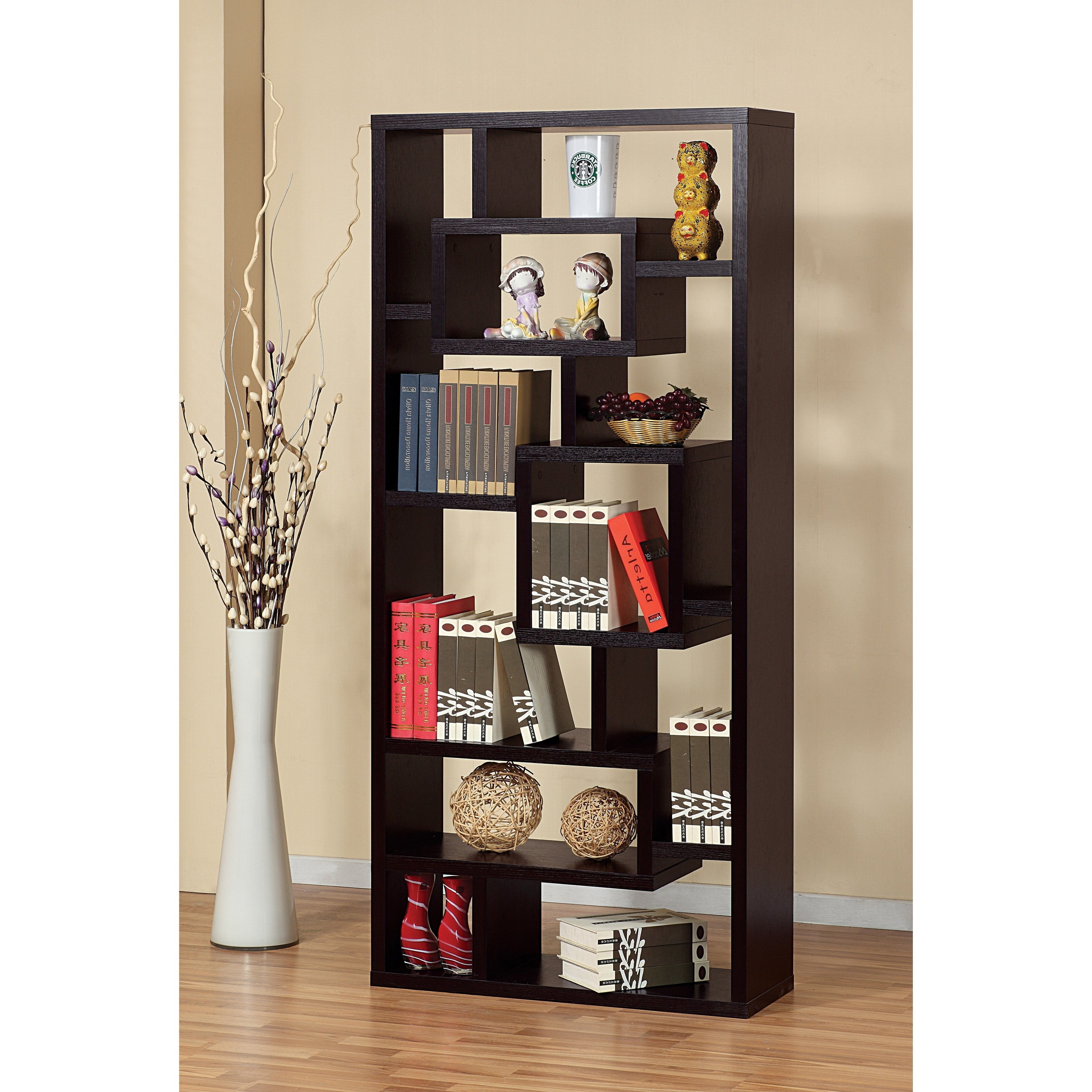 Newest Espresso Solid Wood Stand Alone Bookcase Display Cabinet With Cool With Regard To Cool Bookcases (View 11 of 15)