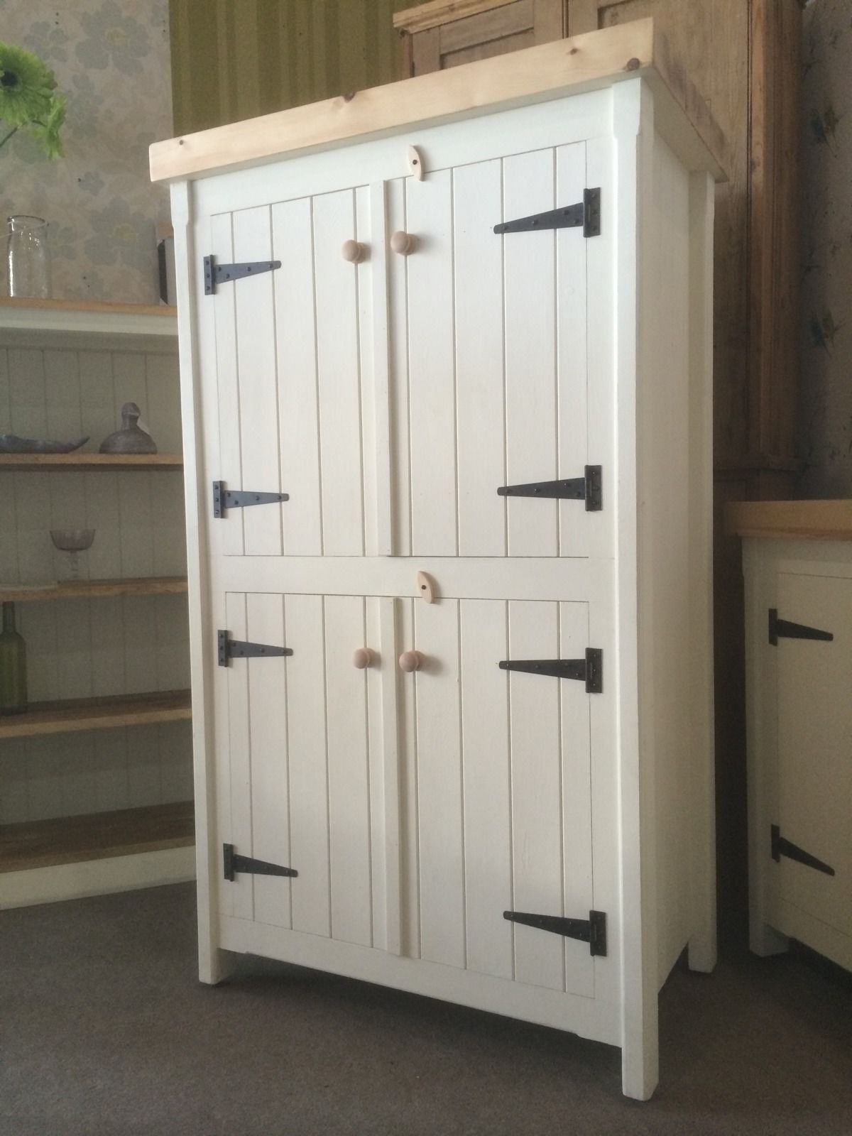 Newest Free Cupboards Intended For Rustic Wooden Pine Freestanding Kitchen Handmade Cupboard Unit (View 9 of 15)