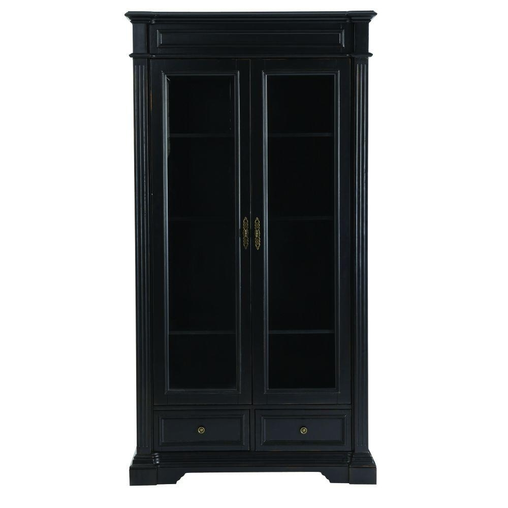 Newest Home Decorators Collection Bufford Rubbed Black Glass Door Intended For Black Bookcases With Doors (View 12 of 15)