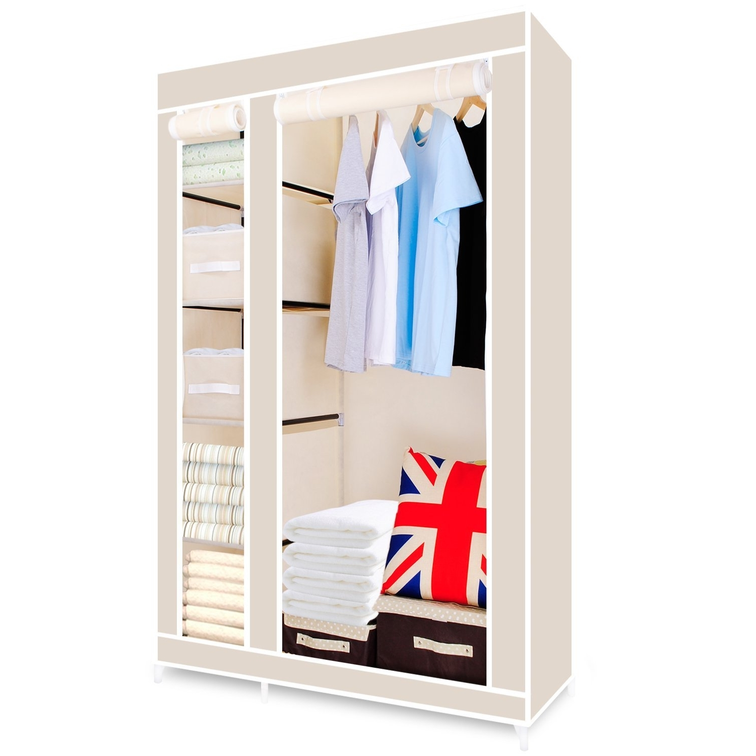 Newest Hst Mall Double Canvas Wardrobe Cupboard Clothes Storage Solution Pertaining To Double Wardrobes Hanging Rail And Supports (View 12 of 15)