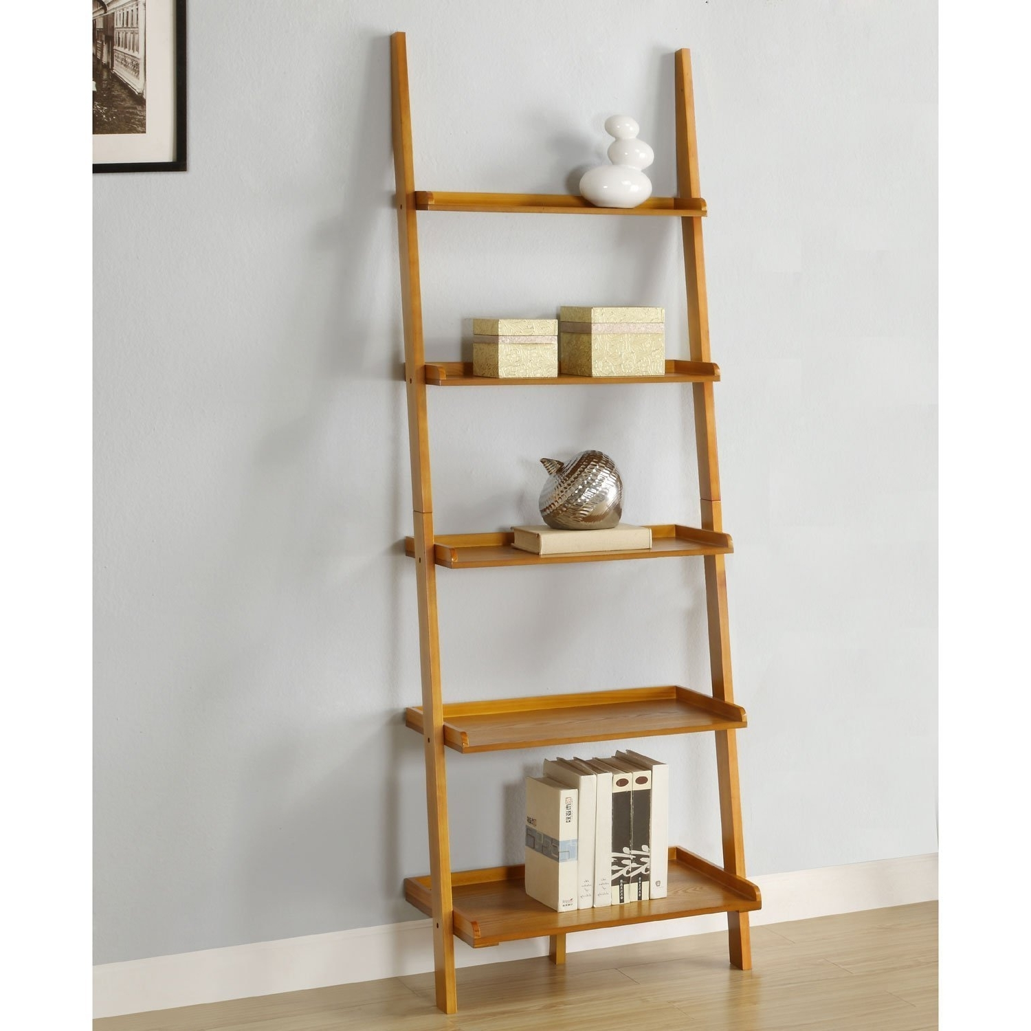 Newest Leaning Shelf Bookcases Within Amazon: Mintra Oak Finish 5 Tier Ladder Book Shelf: Kitchen (View 2 of 15)