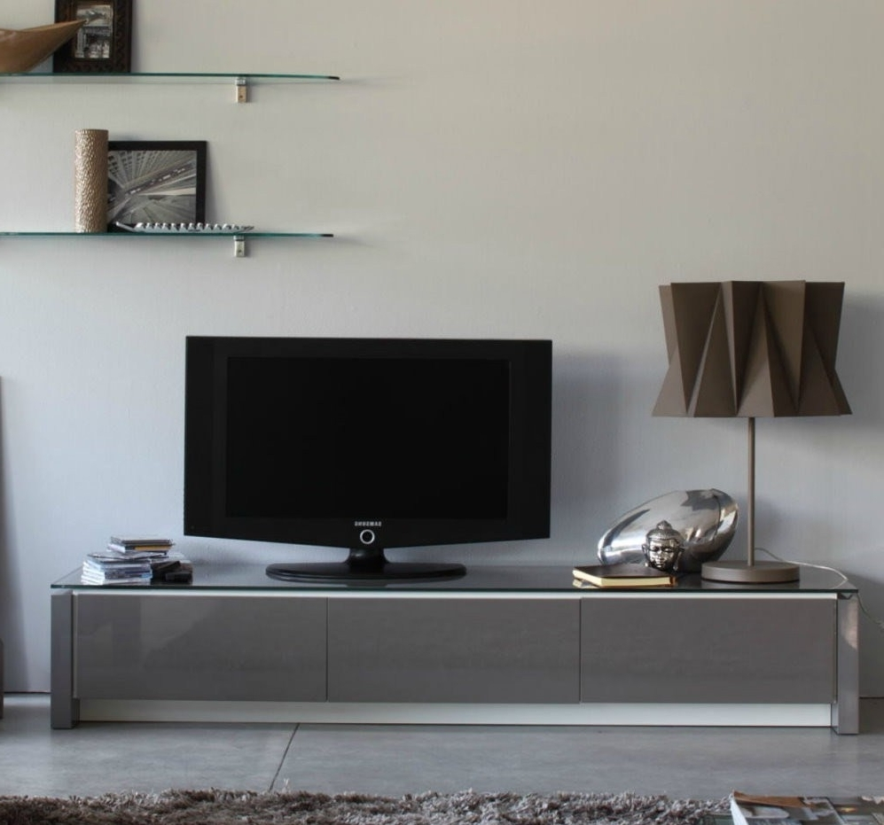 Newest Modern Mirrored Low Profile Media Console With Glass Top Ideas Of In Low Media Unit (View 12 of 15)