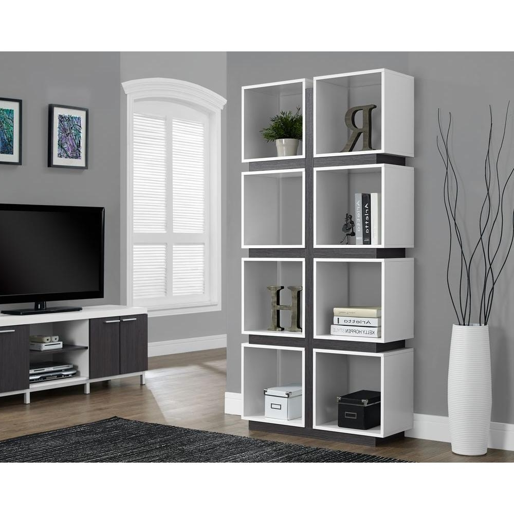 Newest Monarch Specialties White And Grey Open Bookcase I 7076 – The Home Throughout Monarch Bookcases (View 3 of 15)