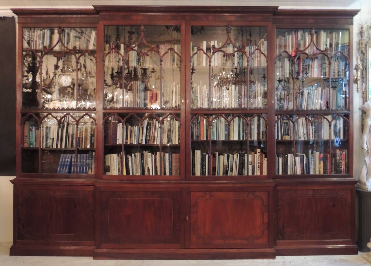 Newest Monumental 19Th Century English Chippendale Mahogany Breakfront Intended For Break Front Bookcases (View 12 of 15)