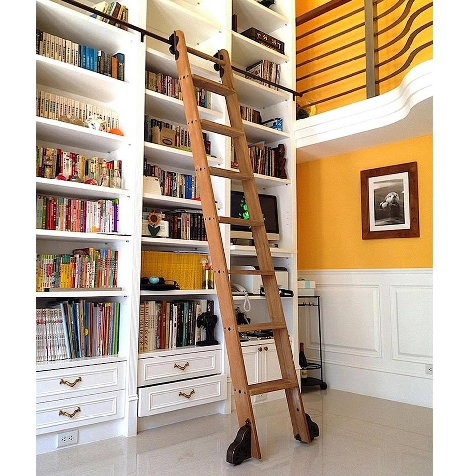 """Newest Rolling Library Ladder With Regard To Quiet Glide Rolling 16""""w Library Ladder Kit (With Ladder) – Black (View 11 of 15)"""