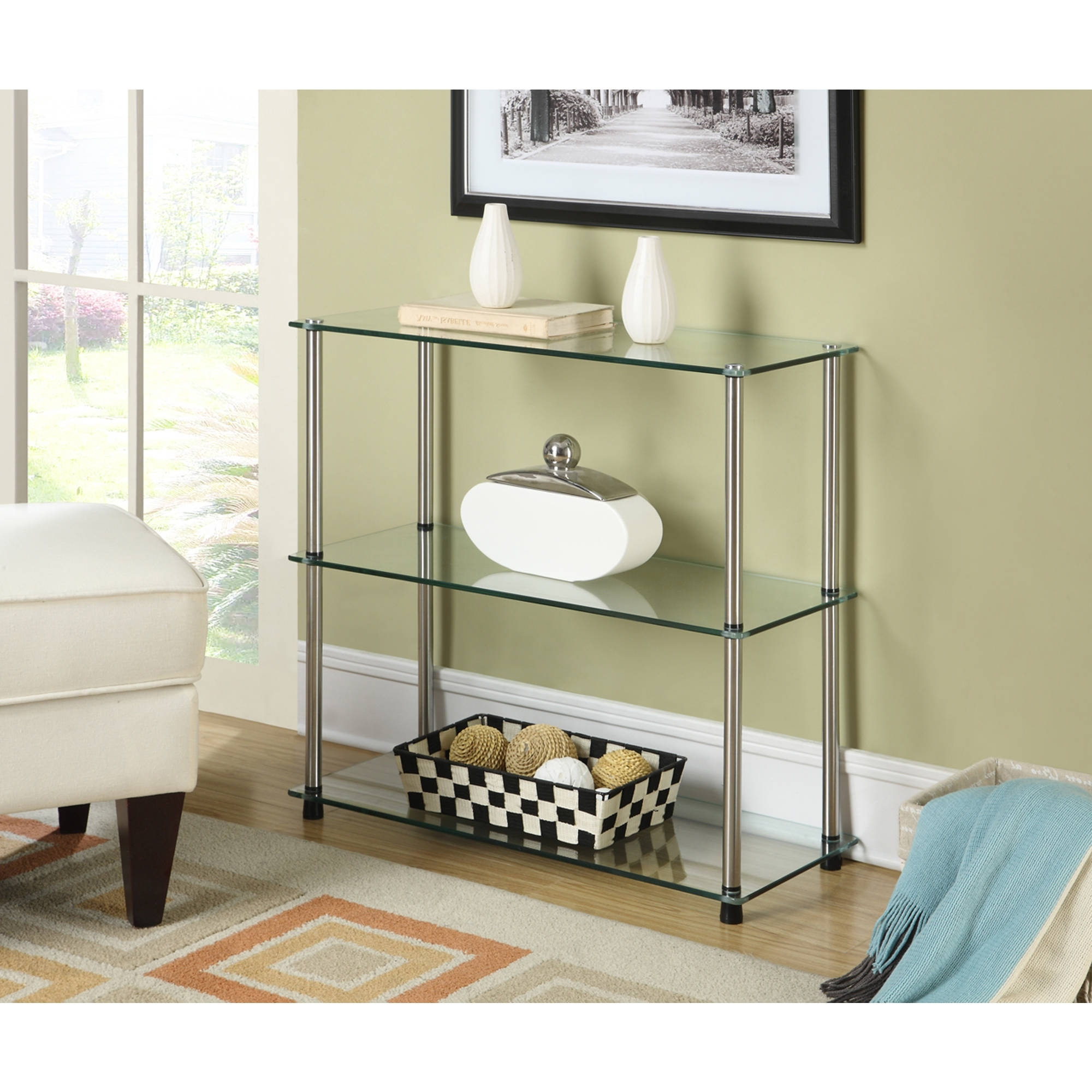 Newest Shelf Bookcase With Glass Doors Sauder White Room Essentials With Regard To Room Essentials 3 Shelf Bookcases (View 9 of 15)