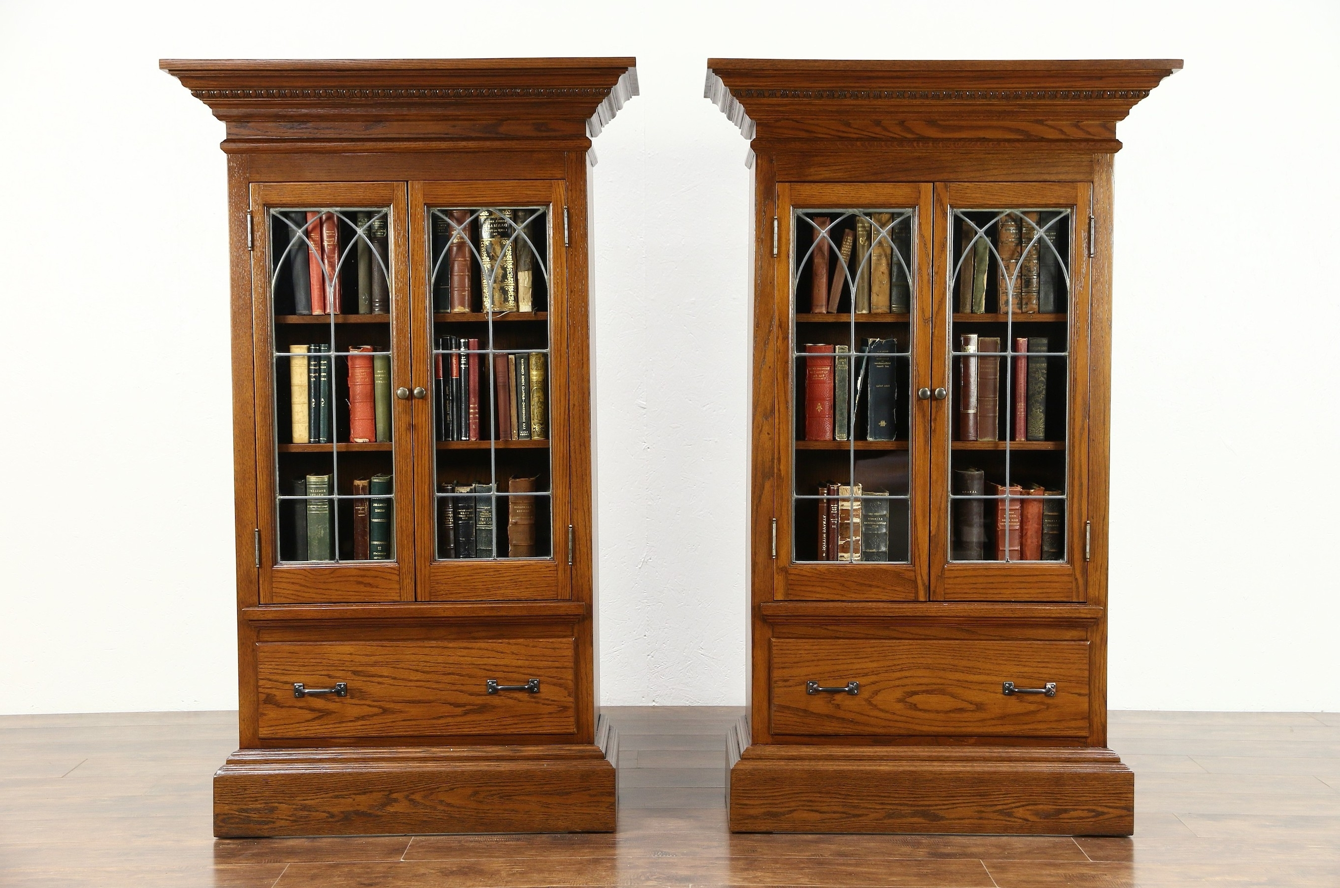 Oak Bookcases Throughout Best And Newest Sold – Pair 1900 Antique Oak Bookcases Or Display Cabinets, Gothic (View 11 of 15)