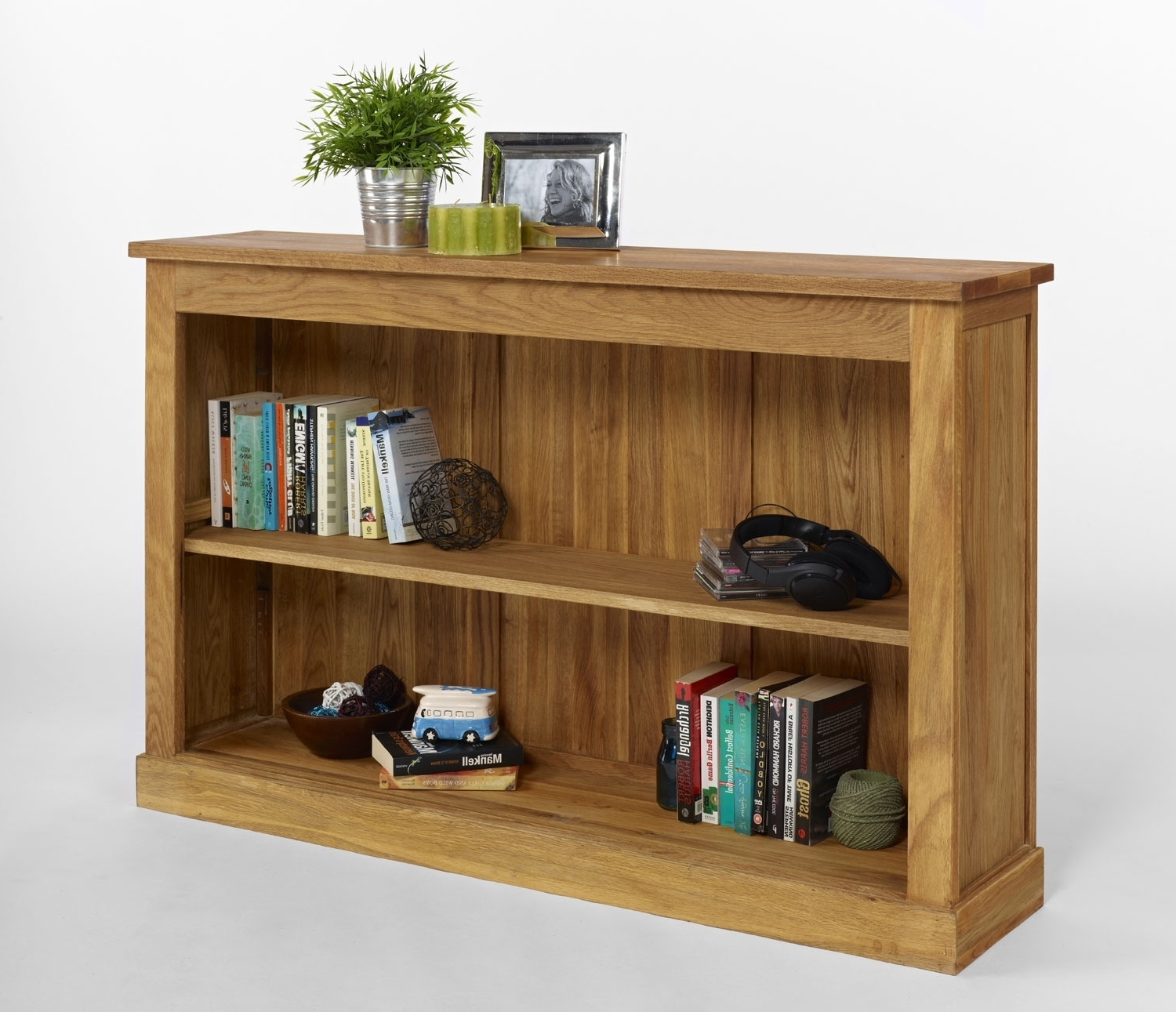 Oak Bookshelves Inside Best And Newest Contemporary Oak With Solid Polished Low Bookcase Added Two Shelf (View 9 of 15)