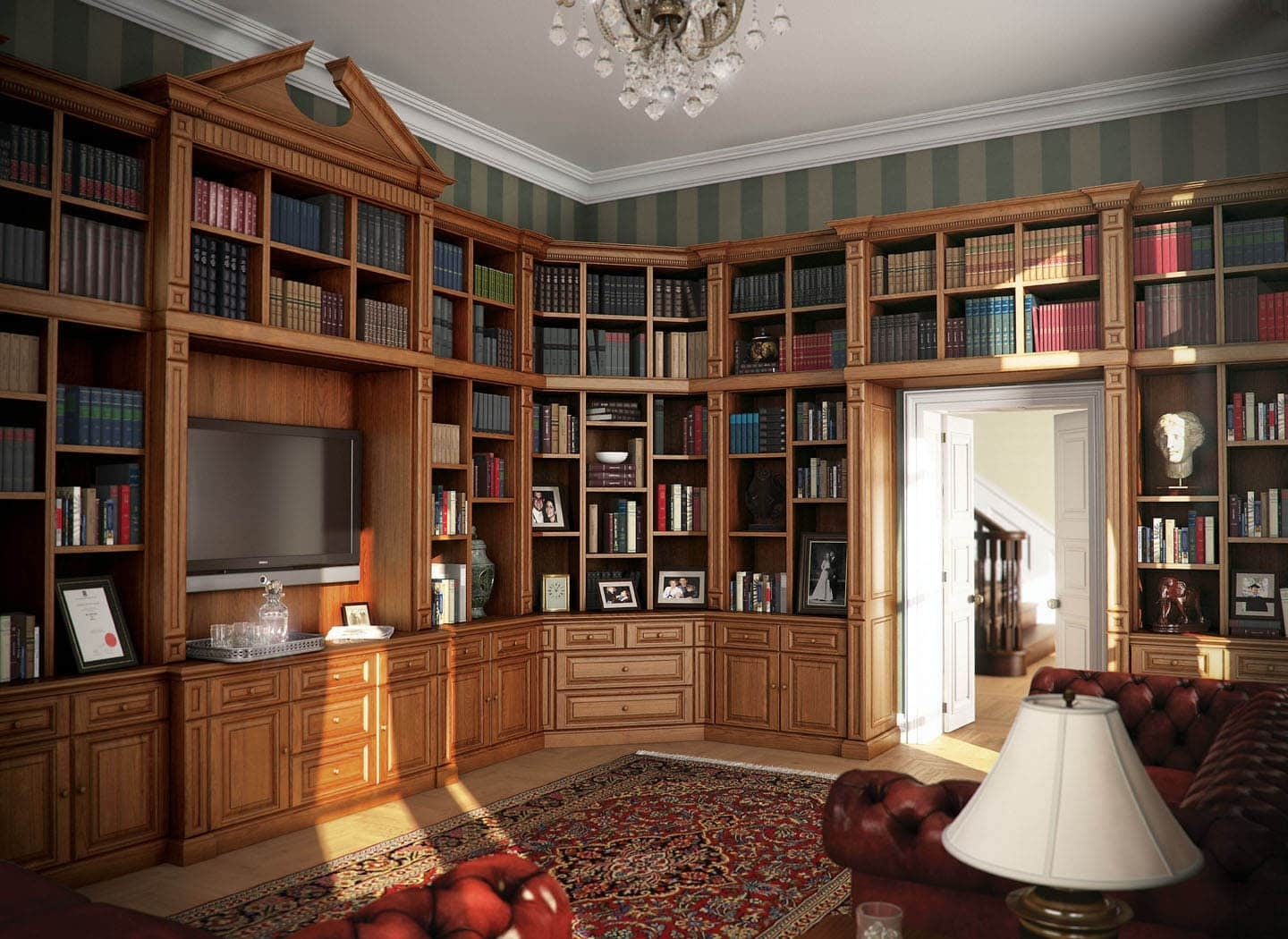 Oak Library Bookcases In Recent Traditional Fitted Libraries & Fitted Bookcases (View 4 of 15)