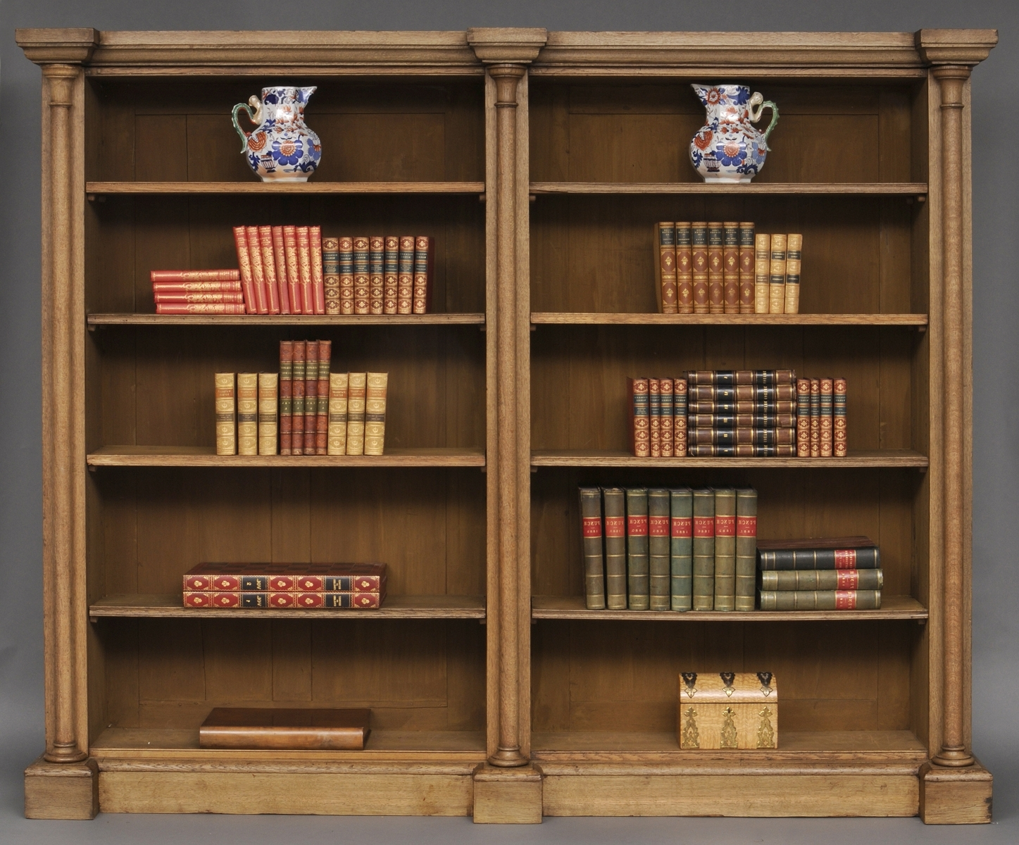 Oak Library Bookcases Intended For Trendy Antique English Bleached Oak Library Breakfronted Open Bookcase (View 7 of 15)
