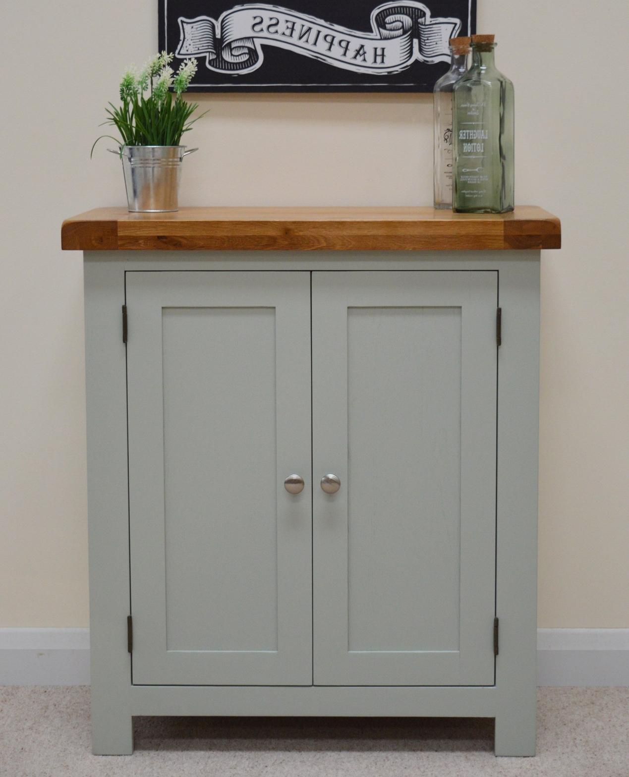 Oak Linen Cupboard For Well Known Camborne Painted Oak Linen Cupboard / Cabinet In Sea Green / Sage (View 10 of 15)